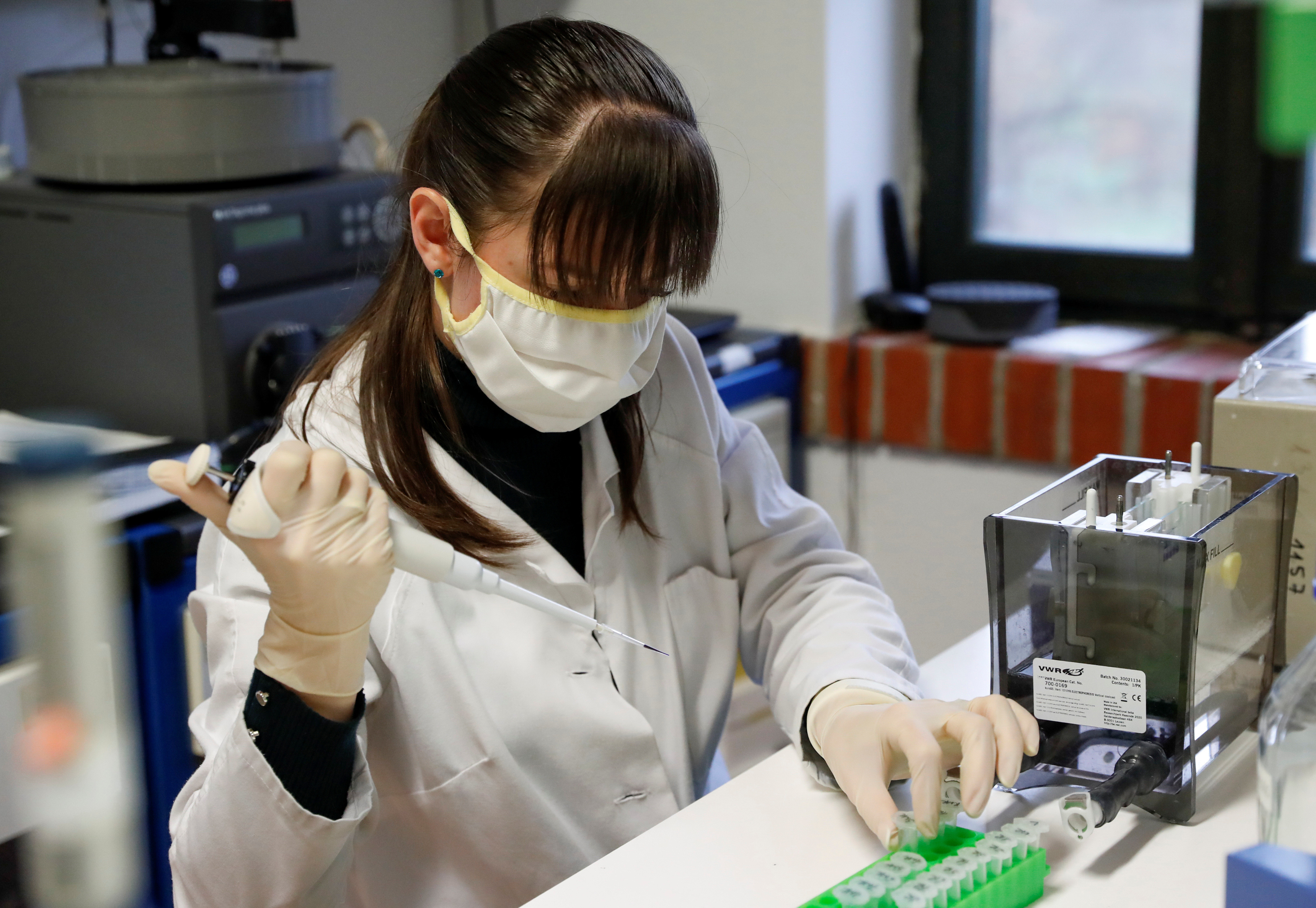 Hungarian biologist Alexandra Torok checks the purity of an antibody, a genetic sensor of sorts, manufactured by a small family company and sold to the largest pharmaceutical companies in the race for a coronavirus vaccine, in Szirak, Hungary, November 13, 2020. Picture taken November 13, 2020. REUTERS/Bernadett Szabo - RC2N3K9A4NQF