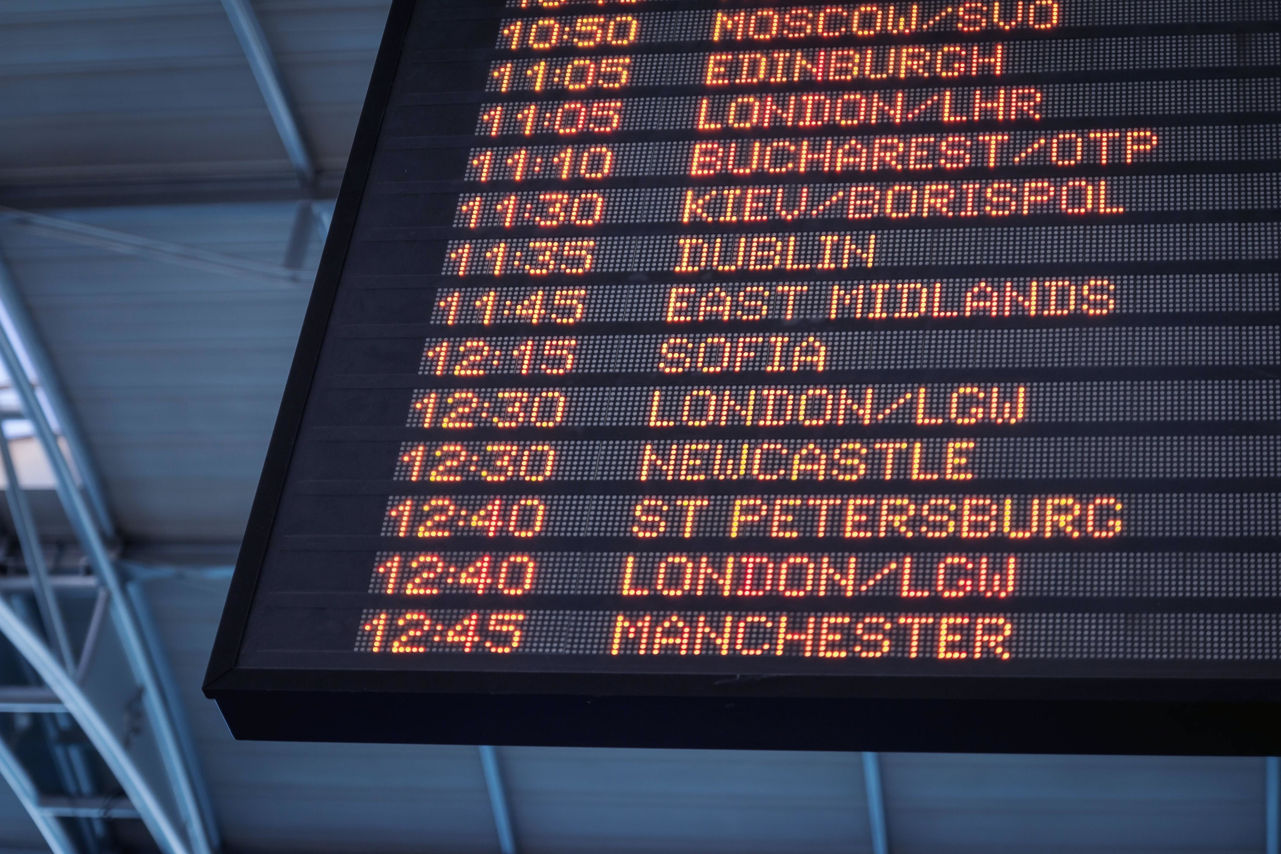 A board at the airport showing the schedule of flights