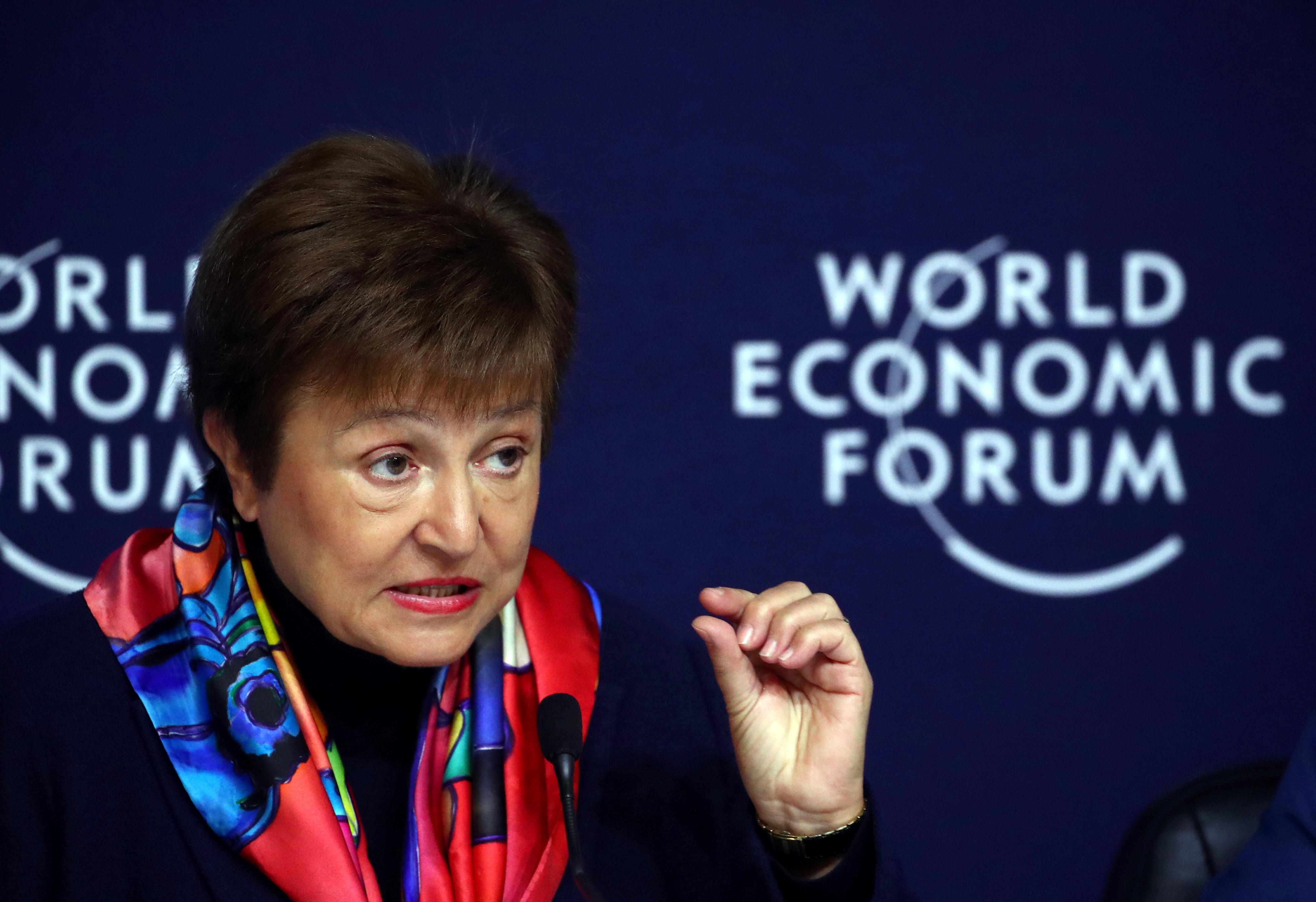 IMF Managing Director Kristalina Georgieva speaks at a news conference ahead of the World Economic Forum (WEF) in Davos, Switzerland January 20, 2020. REUTERS/Denis Balibouse - RC2PJE9CFEVD