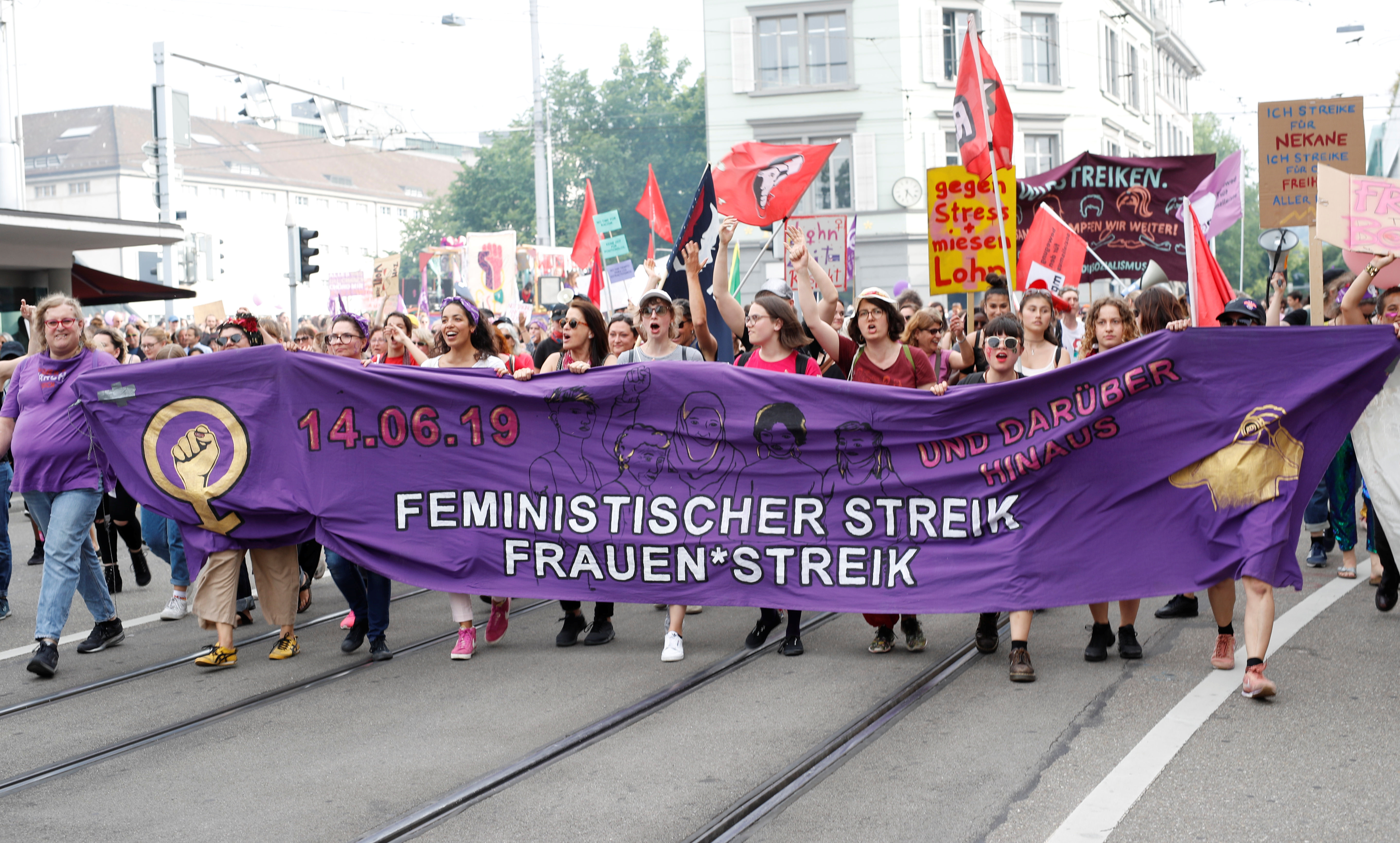 Protesters at a women's strike in Zurich, Switzerland, June 2019.