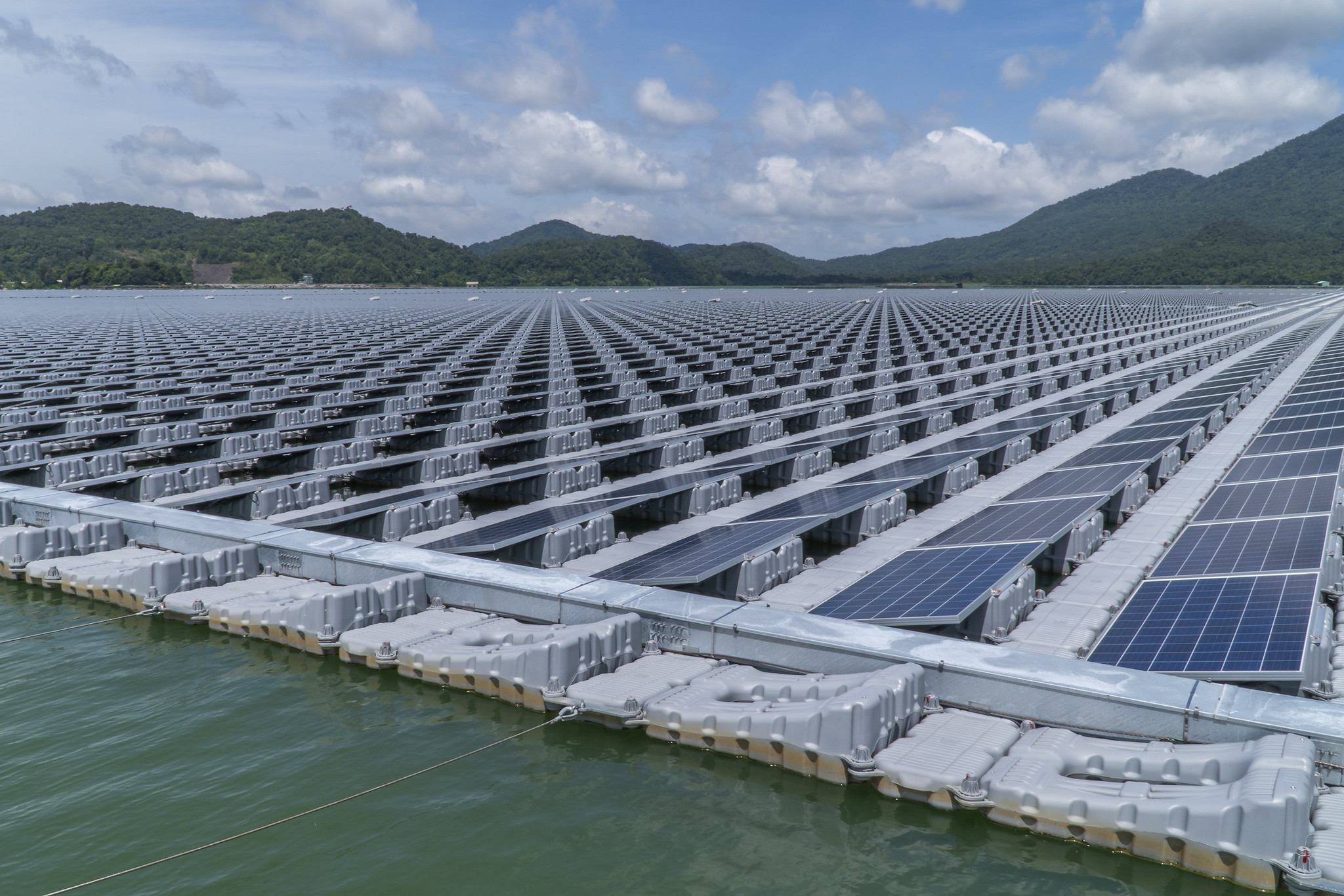 The floating solar photovoltaic (PV) power generation panels at the Da Mi hydro power plant in Binh Thuan, Viet Nam.