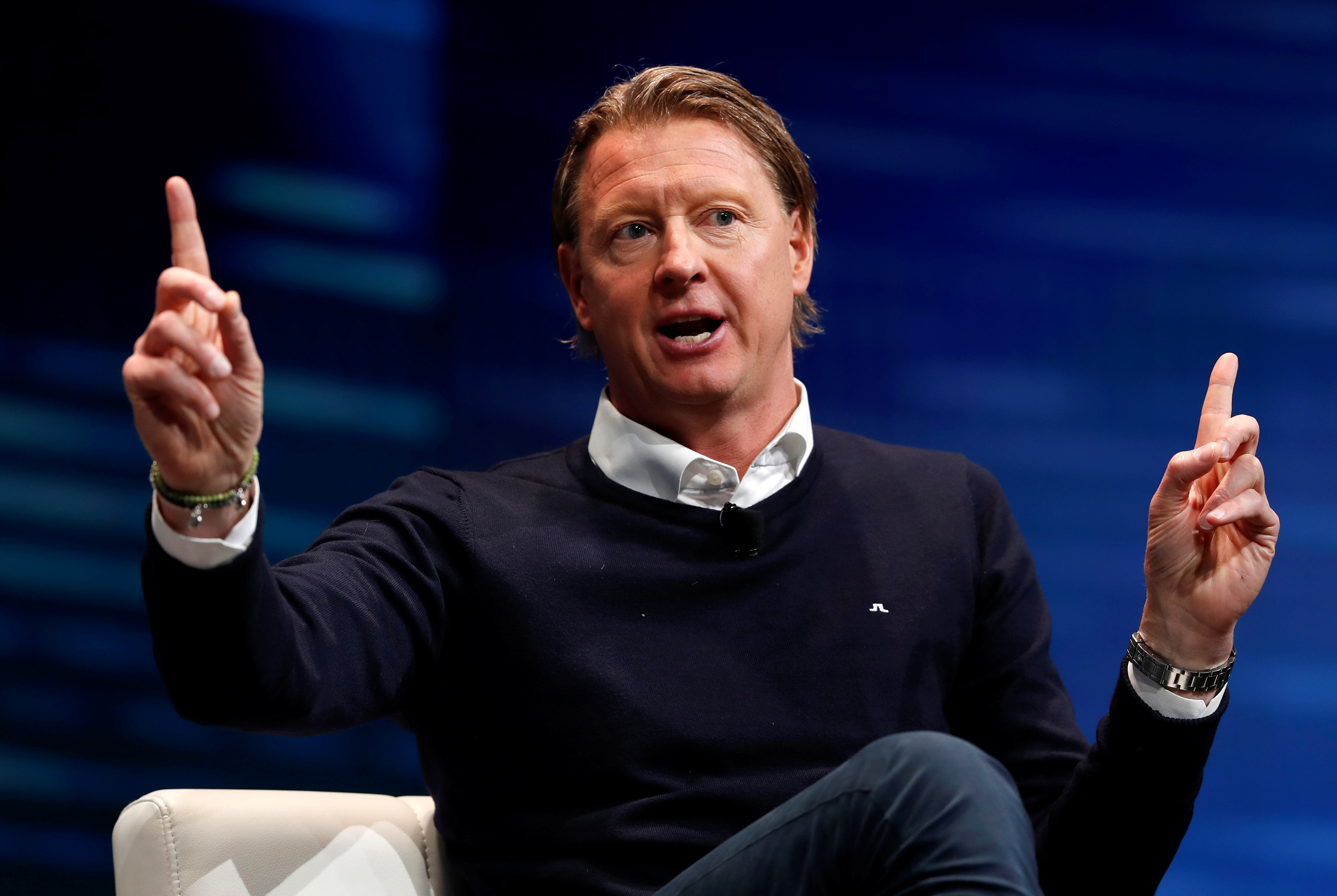 Hans Vestberg, Verizon executive vice president and president of Global Networks and Chief Technology Officer, responds to a question during a panel discussion on 5G wireless broadband technology during the 2018 CES in Las Vegas, Nevada, U.S. January 10, 2018. REUTERS/Steve Marcus - RC19EF82F050