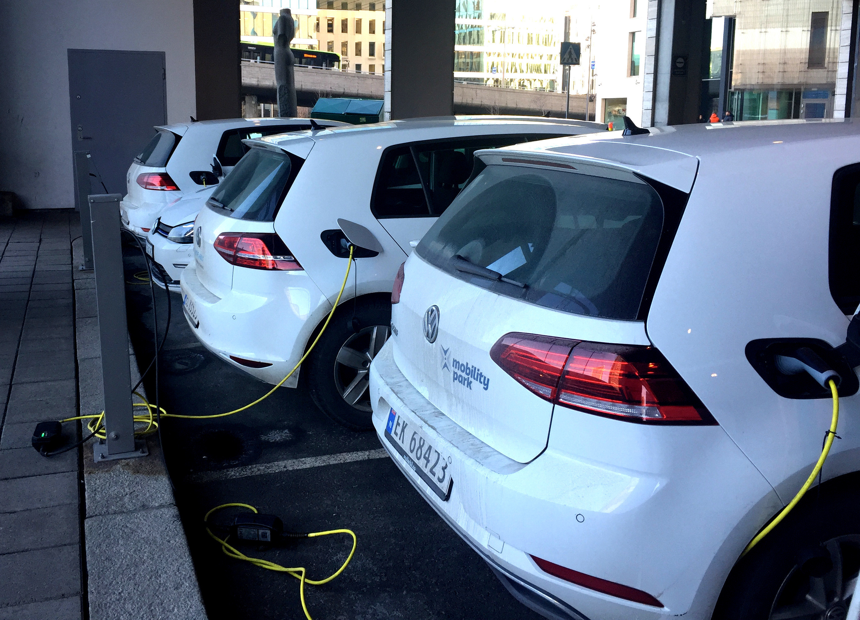 Electric cars are parked in Oslo, Norway January 2, 2019.