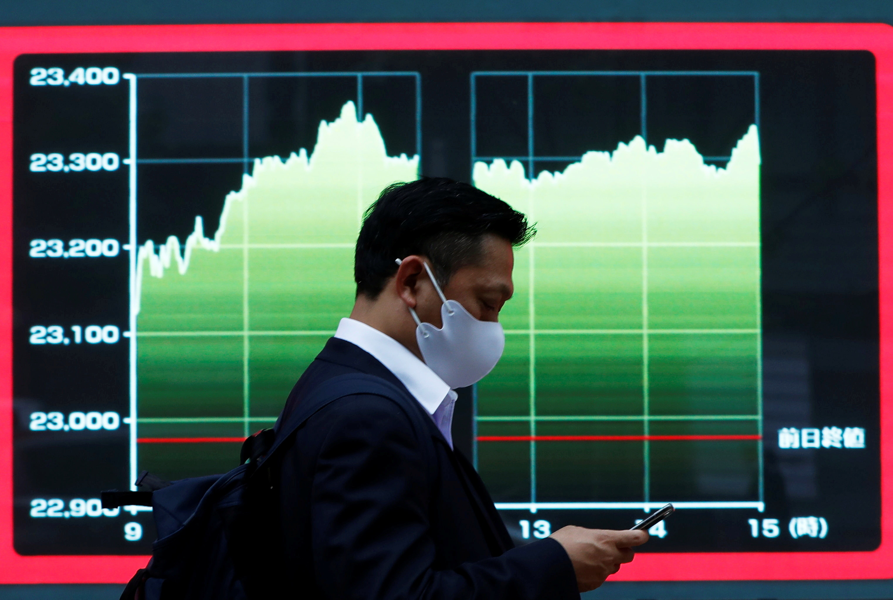 A man wearing a protective face mask walks past a screen displaying a graph showing recent Nikkei share average outside a brokerage, amid the coronavirus disease (COVID-19) outbreak, in Tokyo, Japan November 2, 2020. REUTERS/Issei Kato - RC2WUJ9AK39T