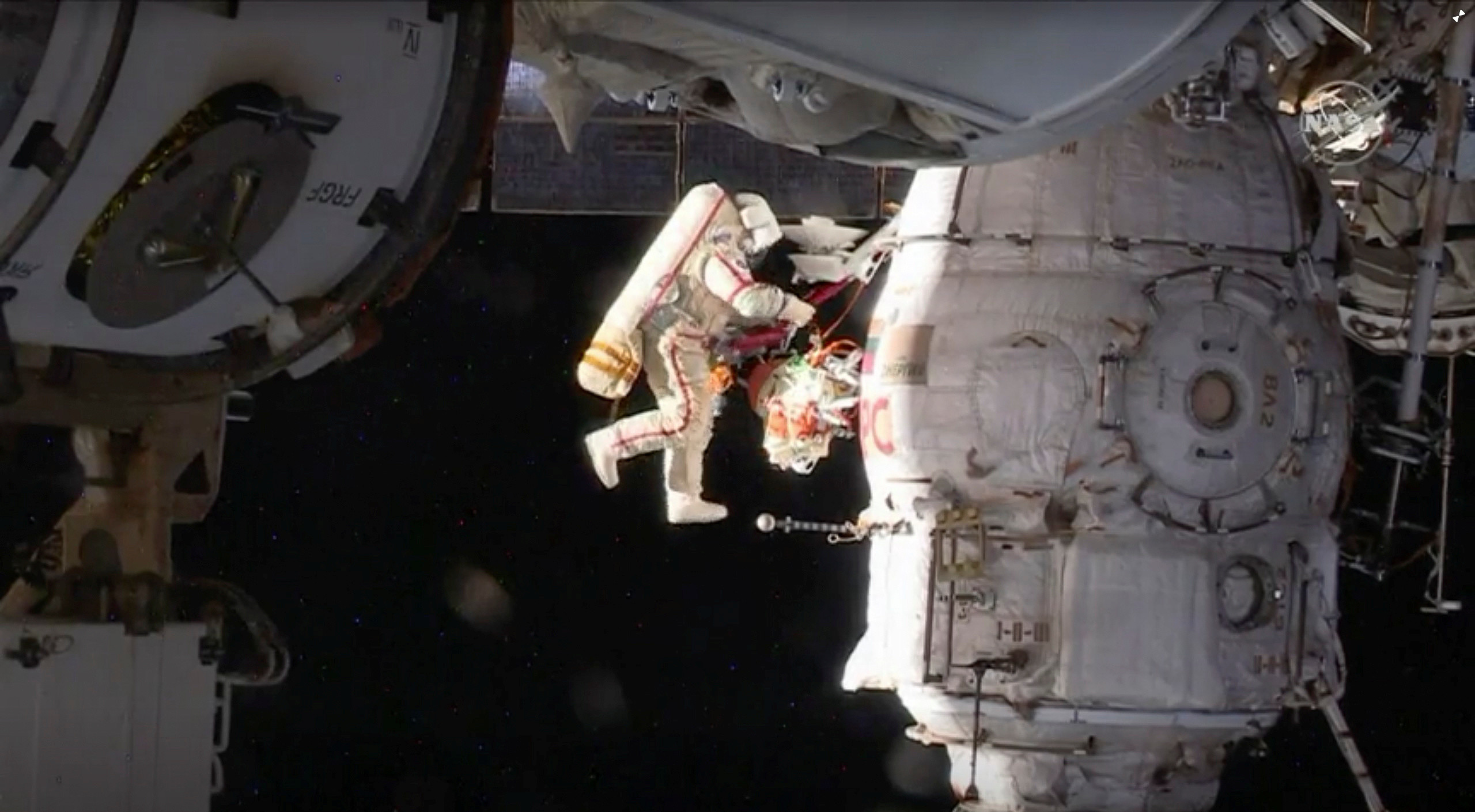 Russian cosmonaut Oleg Kononenko conducts a spacewalk outside the International Space Station Space (ISS) in this still image captured from NASA video in space, December 11, 2018. Courtesy NASA TV/Handout via REUTERS ATTENTION EDITORS - THIS IMAGE HAS BEEN SUPPLIED BY A THIRD PARTY.     TPX IMAGES OF THE DAY - RC13DD990970