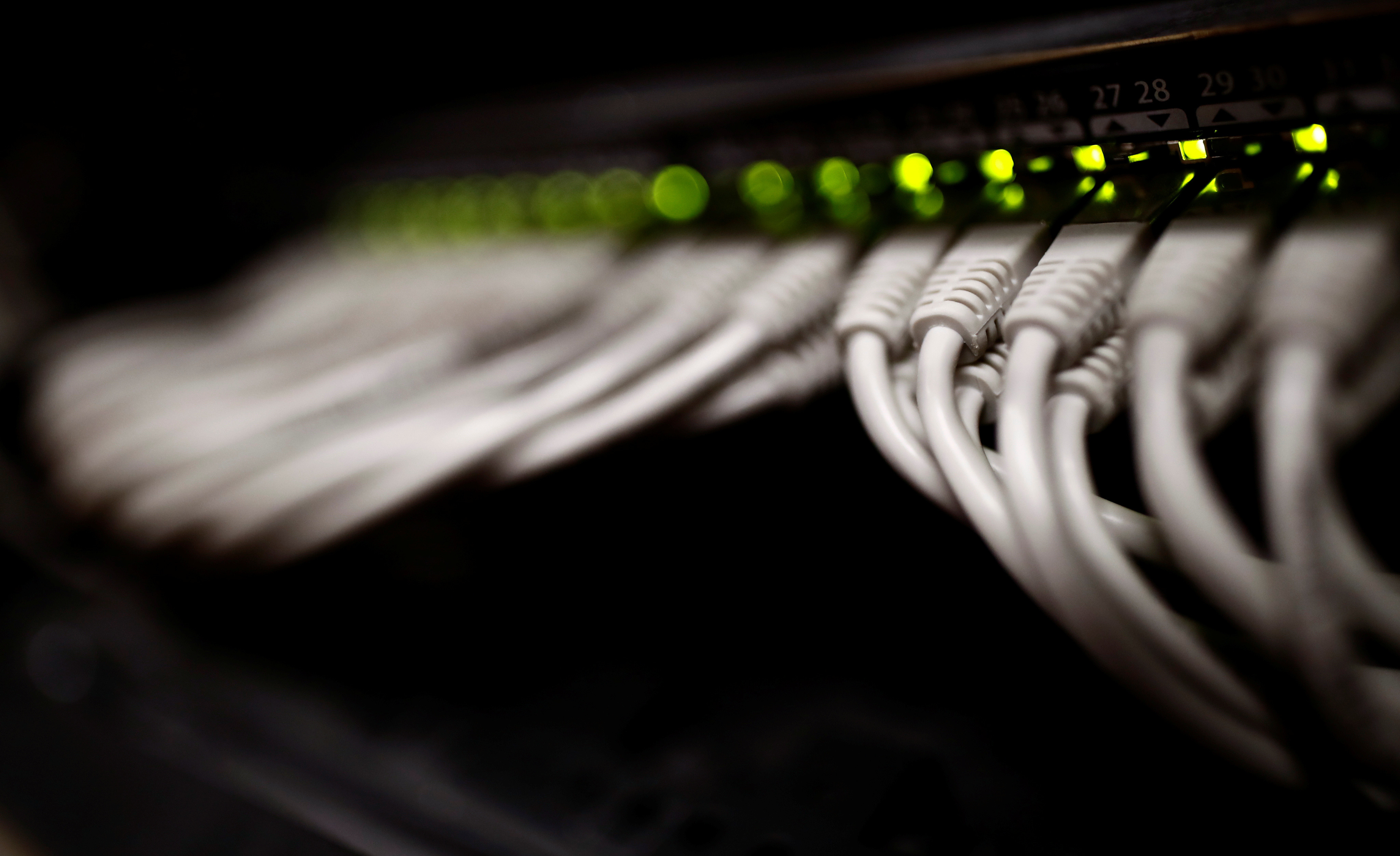 RJ45 cables are pictured inside the data centre operated by French telecoms operator Iliad in Paris, France, March 4, 2019