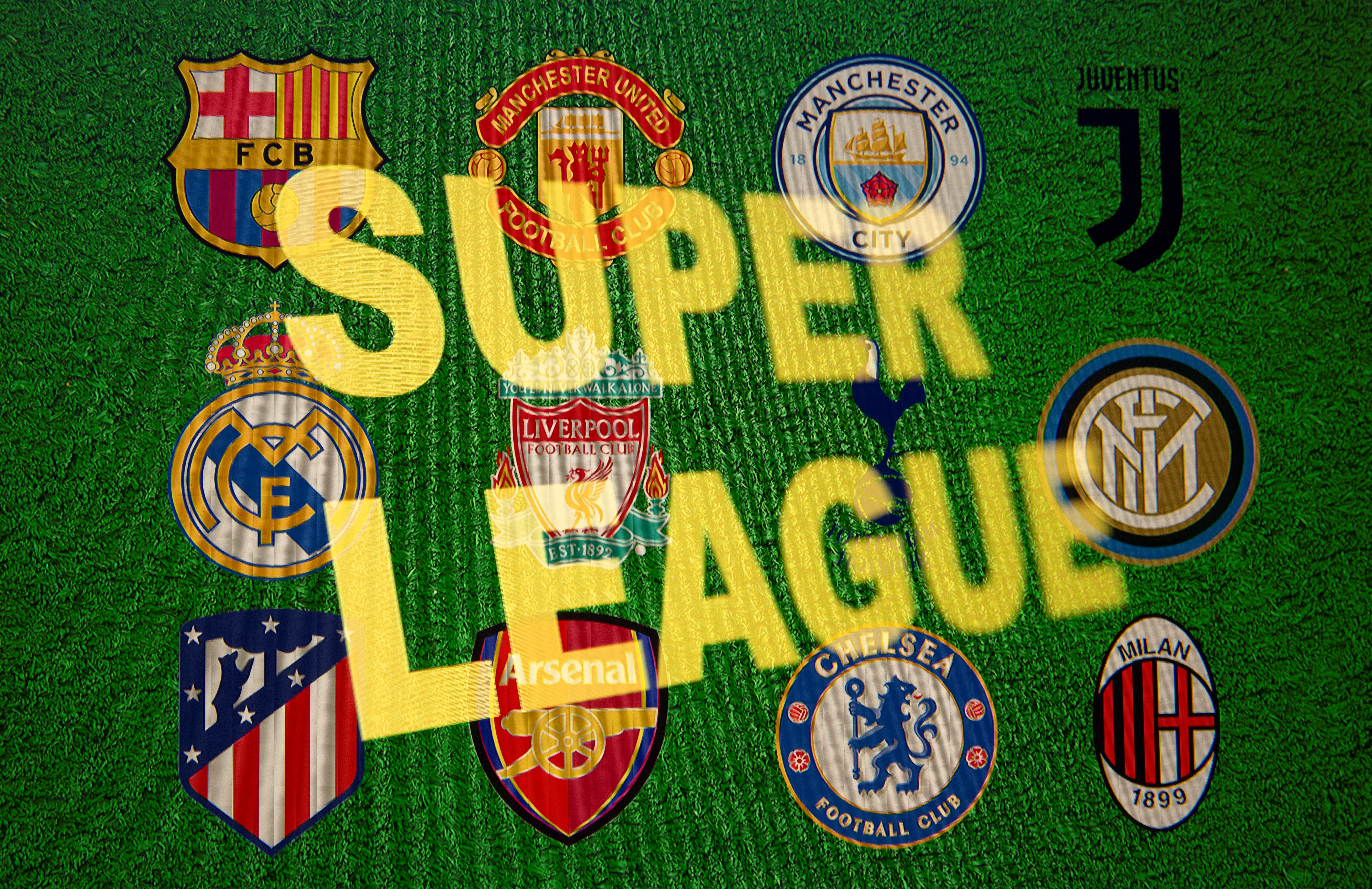 Super League words are seen in front of twelve of Europe's top football clubs logos in this illustration taken April 19, 2021.