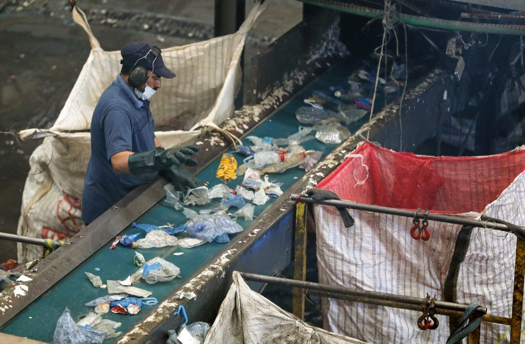 A worker is seen at a recycling factory, which recycles plastic garbage collected from the Nile river, in Giza, Egypt May 24, 2021.