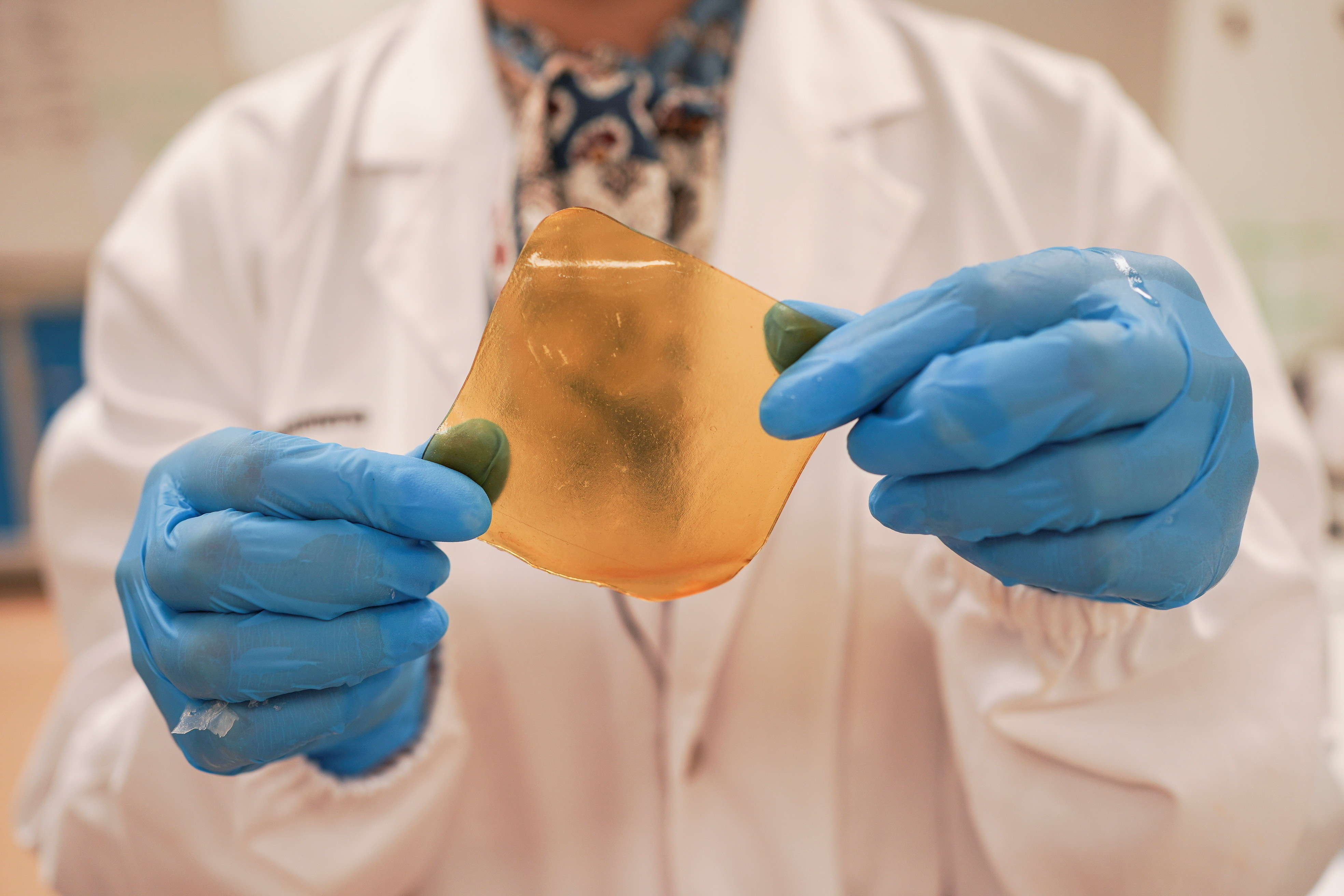 A researcher holds a hydrogel sheet made out of durian husk with yeast phenolics in Singapore September 16, 2021. Picture taken September 16, 2021. REUTERS/Lee Ying Shan - RC2VQP908K2L