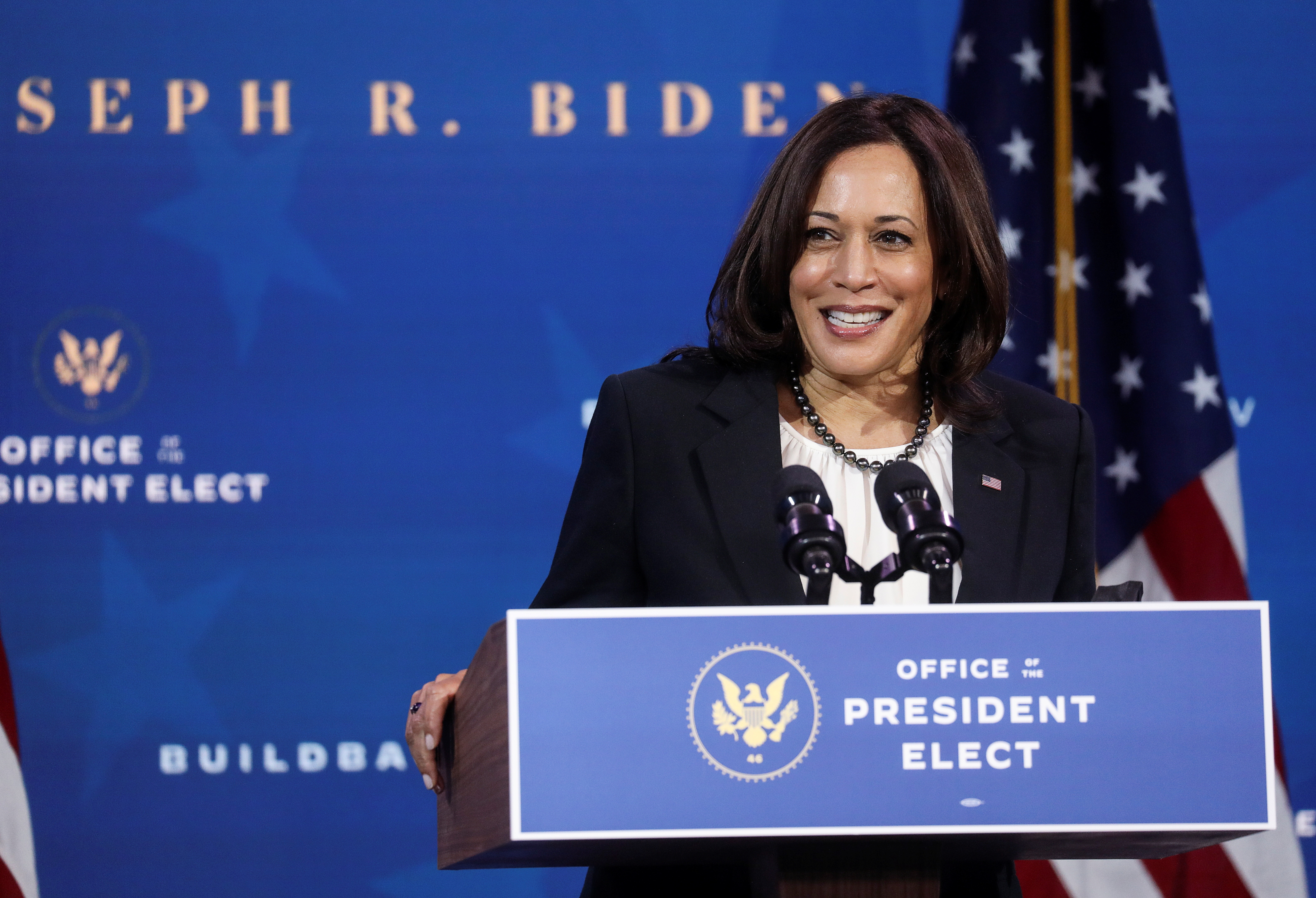 U.S. Vice President-elect Kamala Harris speaks as she and U.S. President-elect Joe Biden announce nominees and appointees to serve on their economic policy team at his transition headquarters in Wilmington, Delaware, U.S., December 1, 2020. REUTERS/Leah Millis - RC2IEK9VYZ3Q