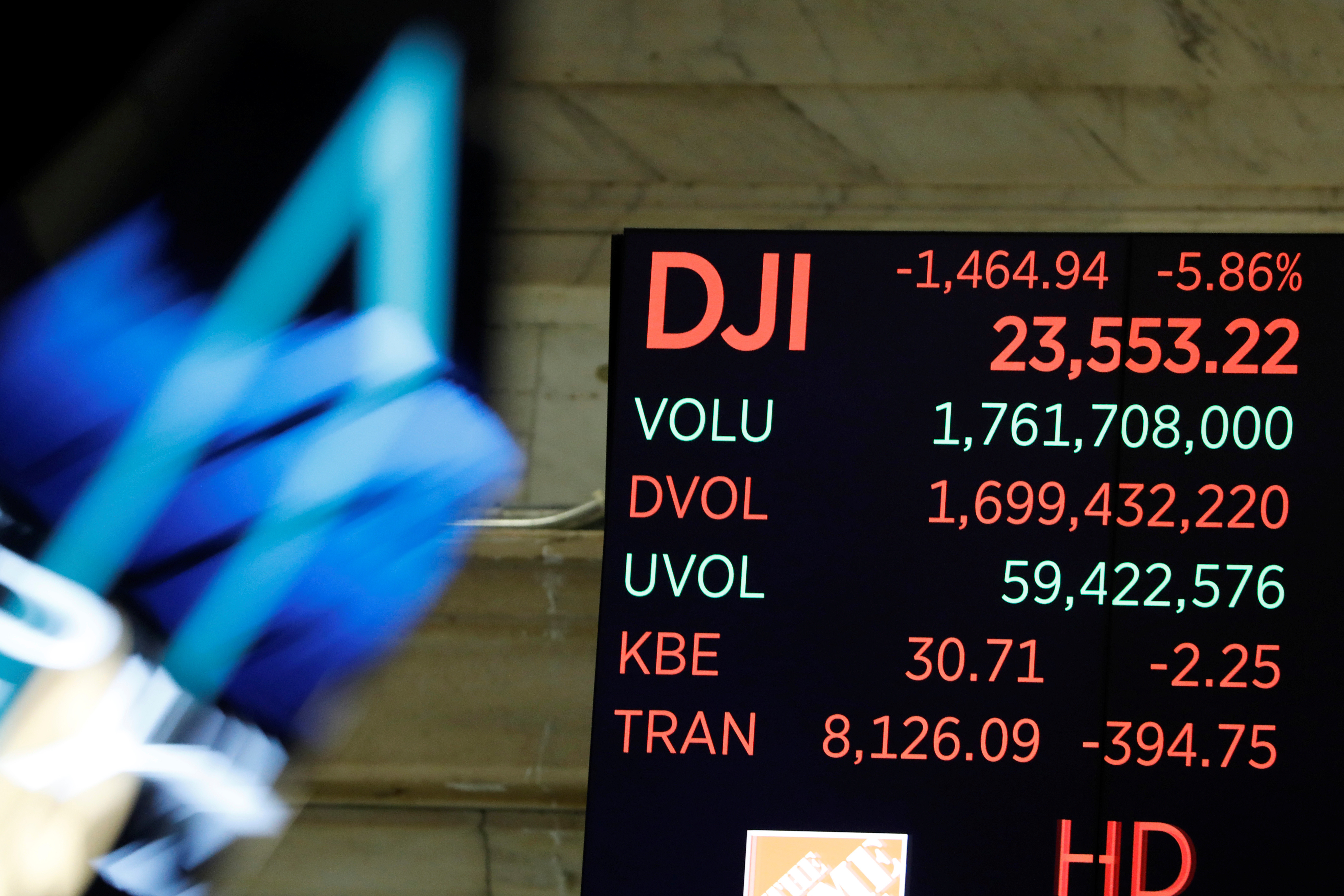 The Dow Jones Industrial Average is displayed after the closing bell on the floor of the New York Stock Exchange (NYSE) in New York City, New York, U.S., March 11, 2020. REUTERS/Andrew Kelly - RC2WHF9HGYQE