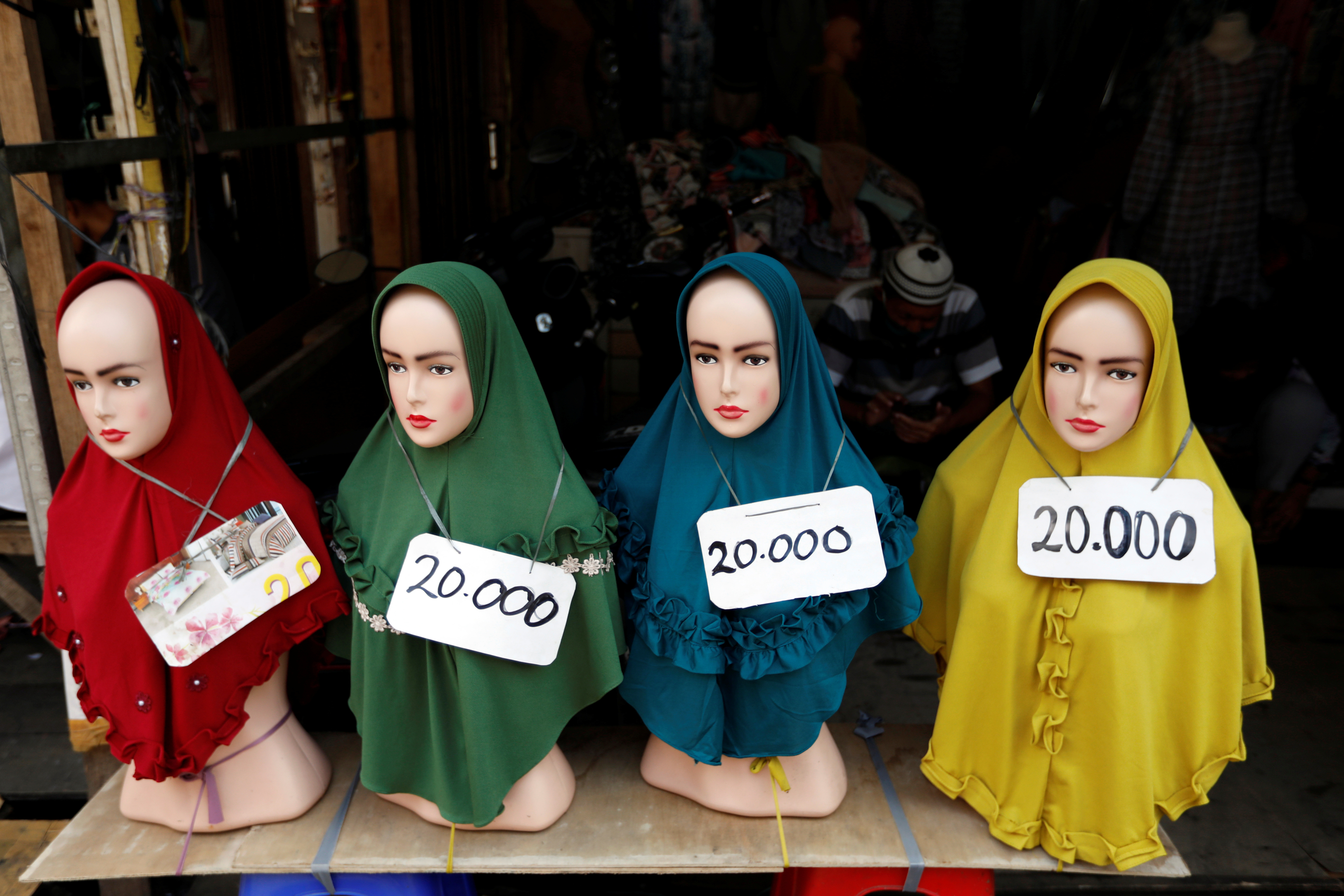 Hijabs on sale at Tanah Abang wholesale market in Jakarta, the largest in south-east Asia.