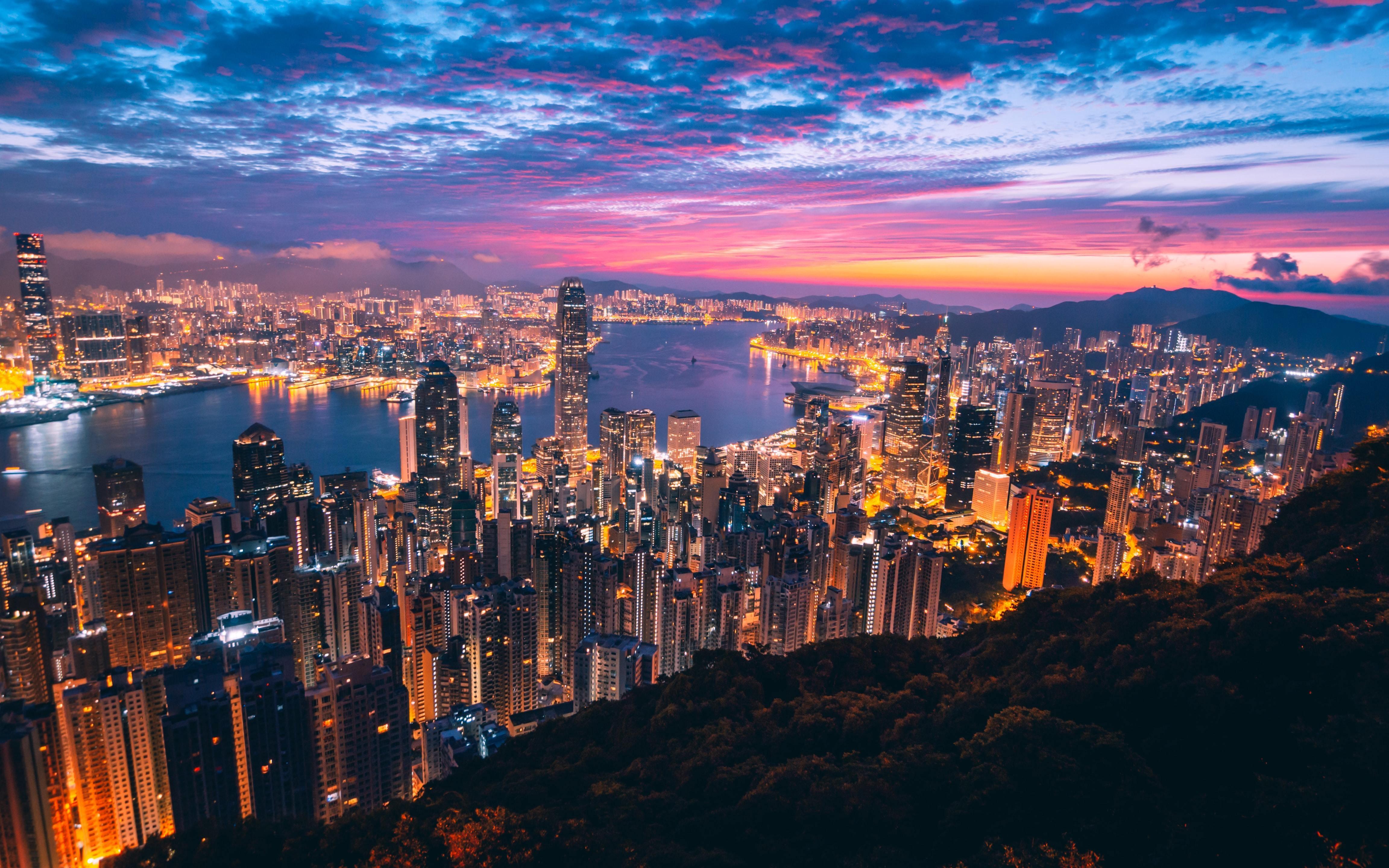 Hong Kong skyline at night.