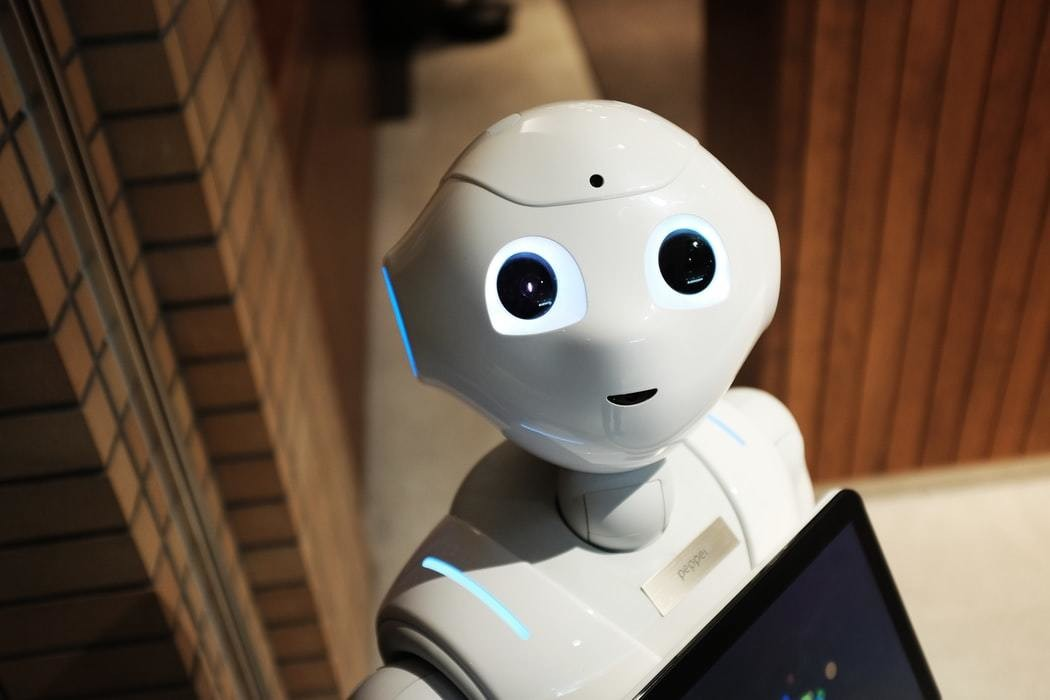 Robot with eyes and smiling mouth