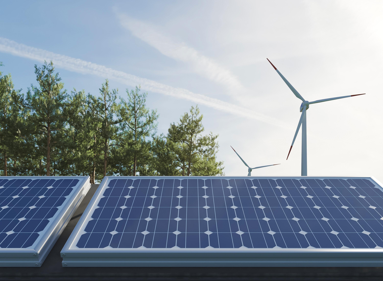 Solar panel, wind turbines and trees.