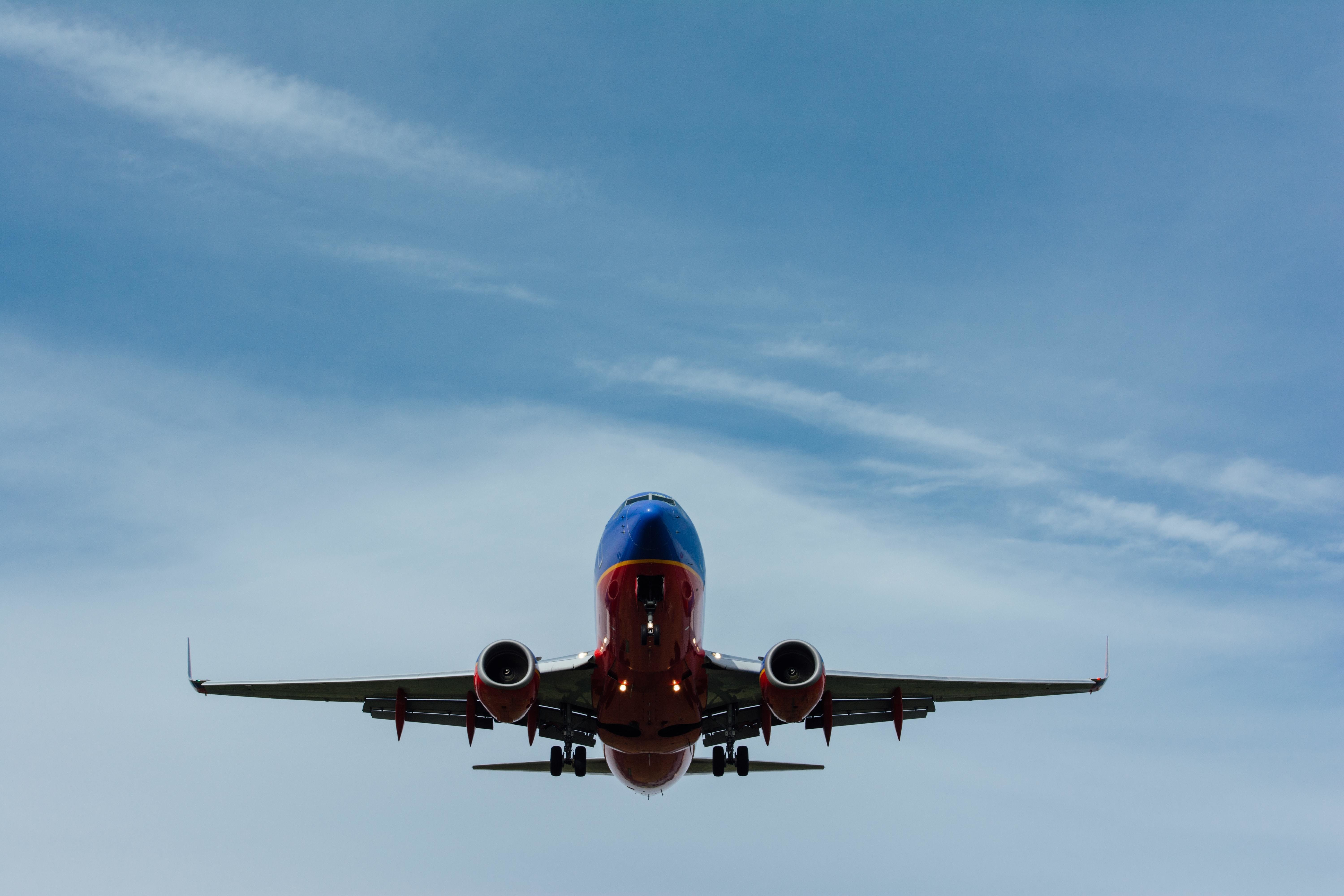 An airplane taking off.