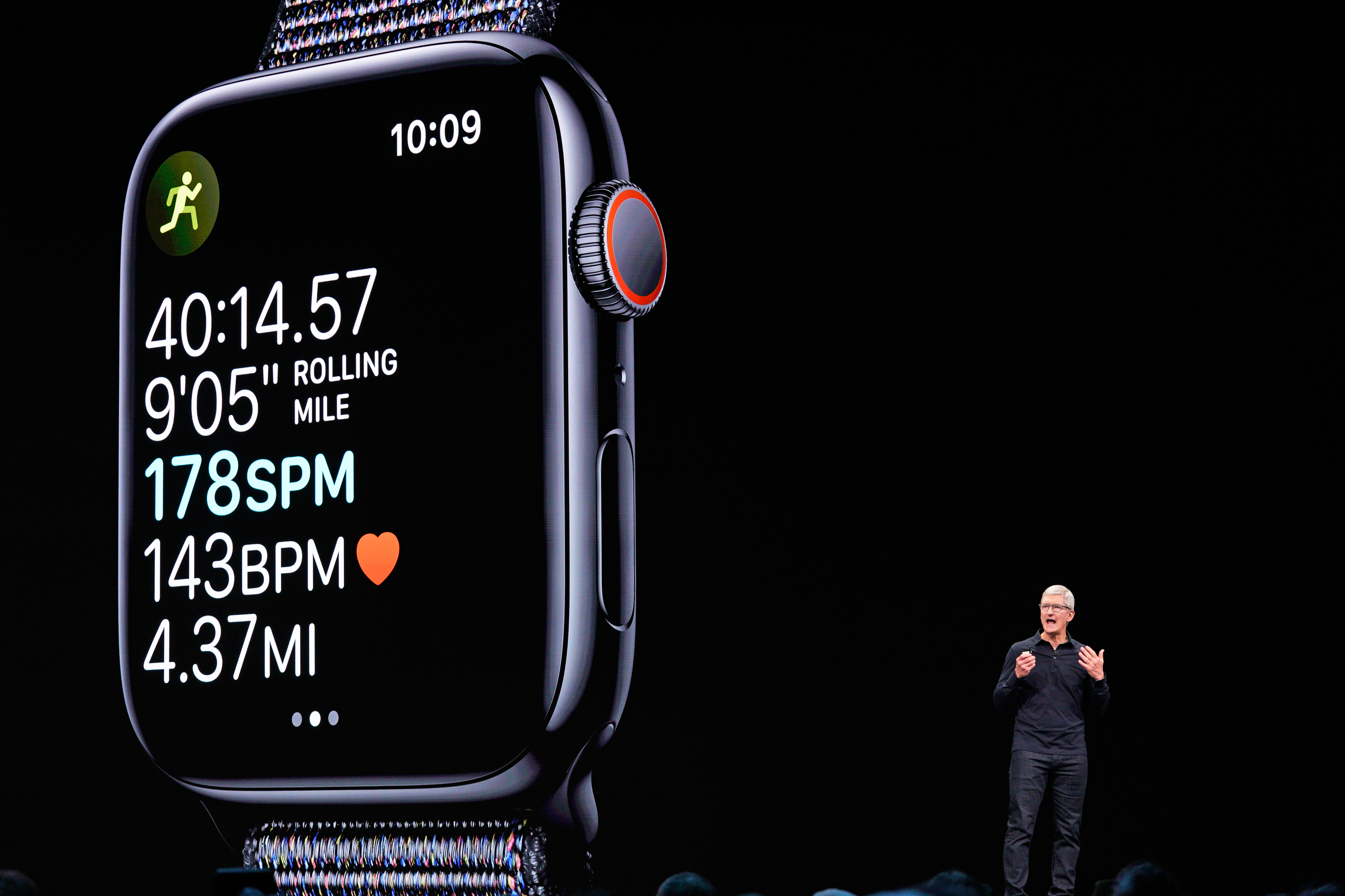 Apple CEO Tim Cook speaks about the Apple Watch during Apple's annual Worldwide Developers Conference in San Jose, California, U.S. June 3, 2019. REUTERS/Mason Trinca - HP1EF631D9RXK