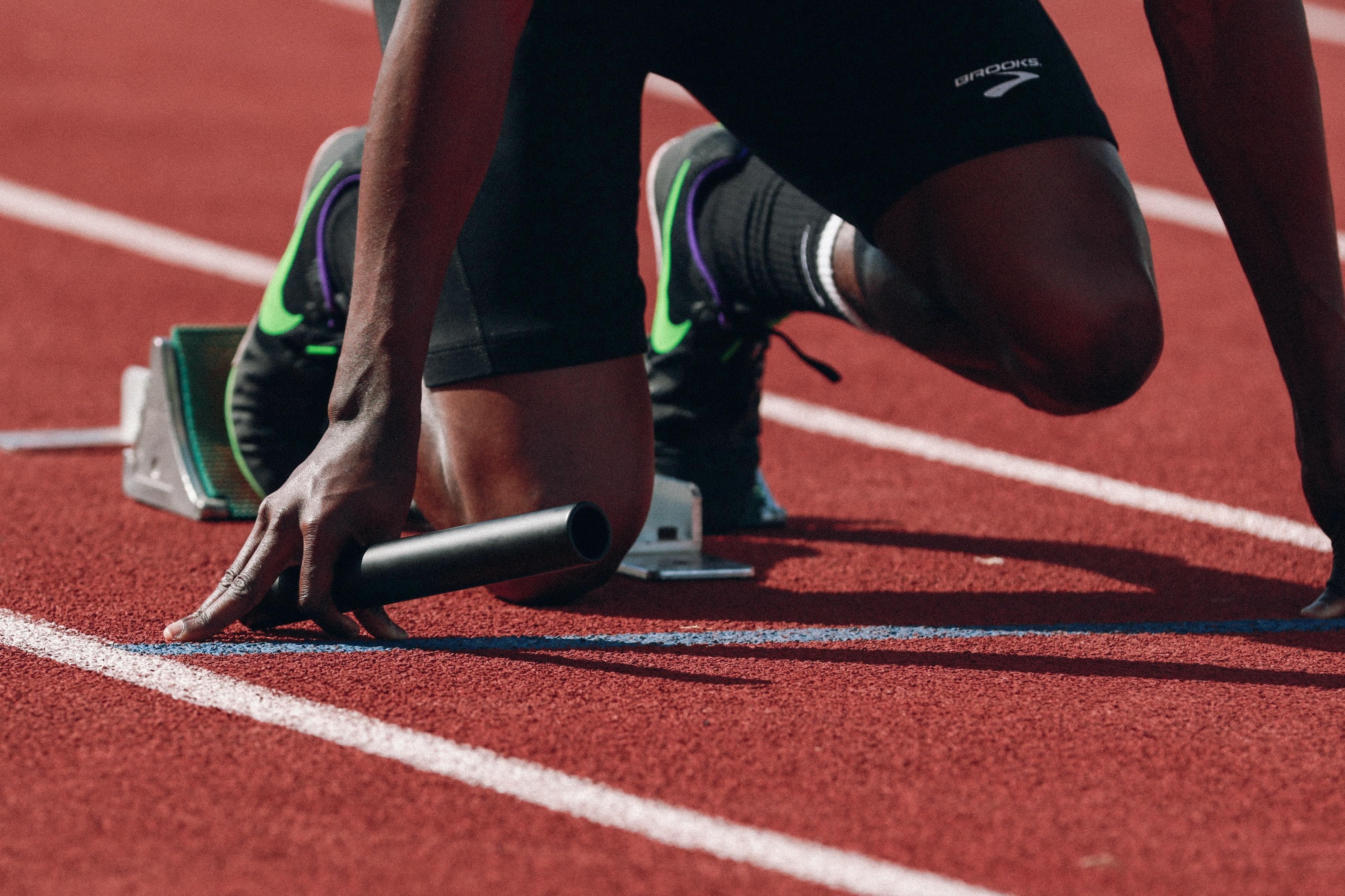 A runner about to start a race.