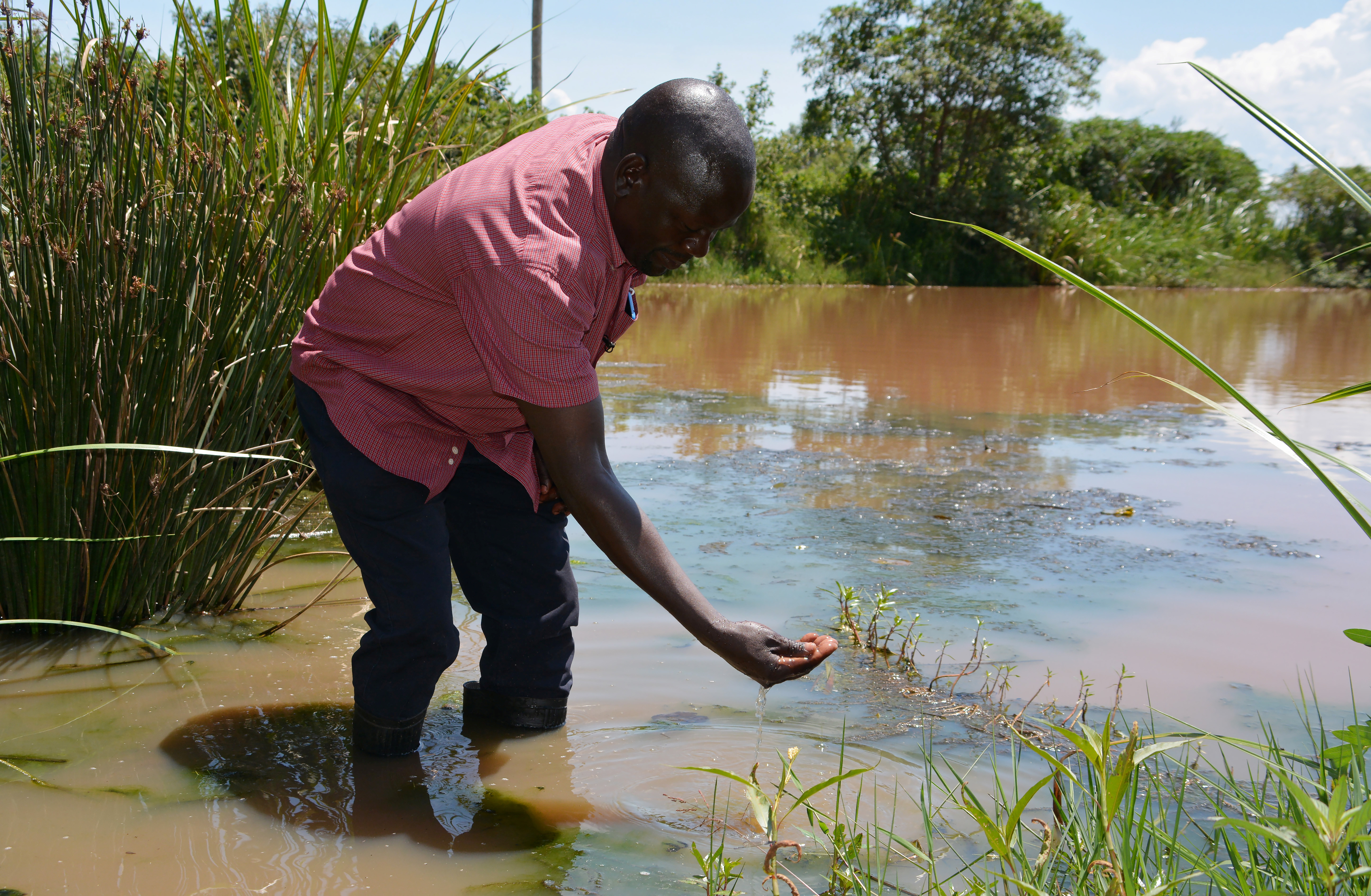 George Oliech, a researcher from the International Centre of Insect Physiology and Ecology (ICIPE), checks the quality of the swamp water in Kamgan village of Nyakach, Kenya May 12, 2020. Picture taken May 12, 2020. REUTERS/Edwin Waita - RC22RG94I59Y