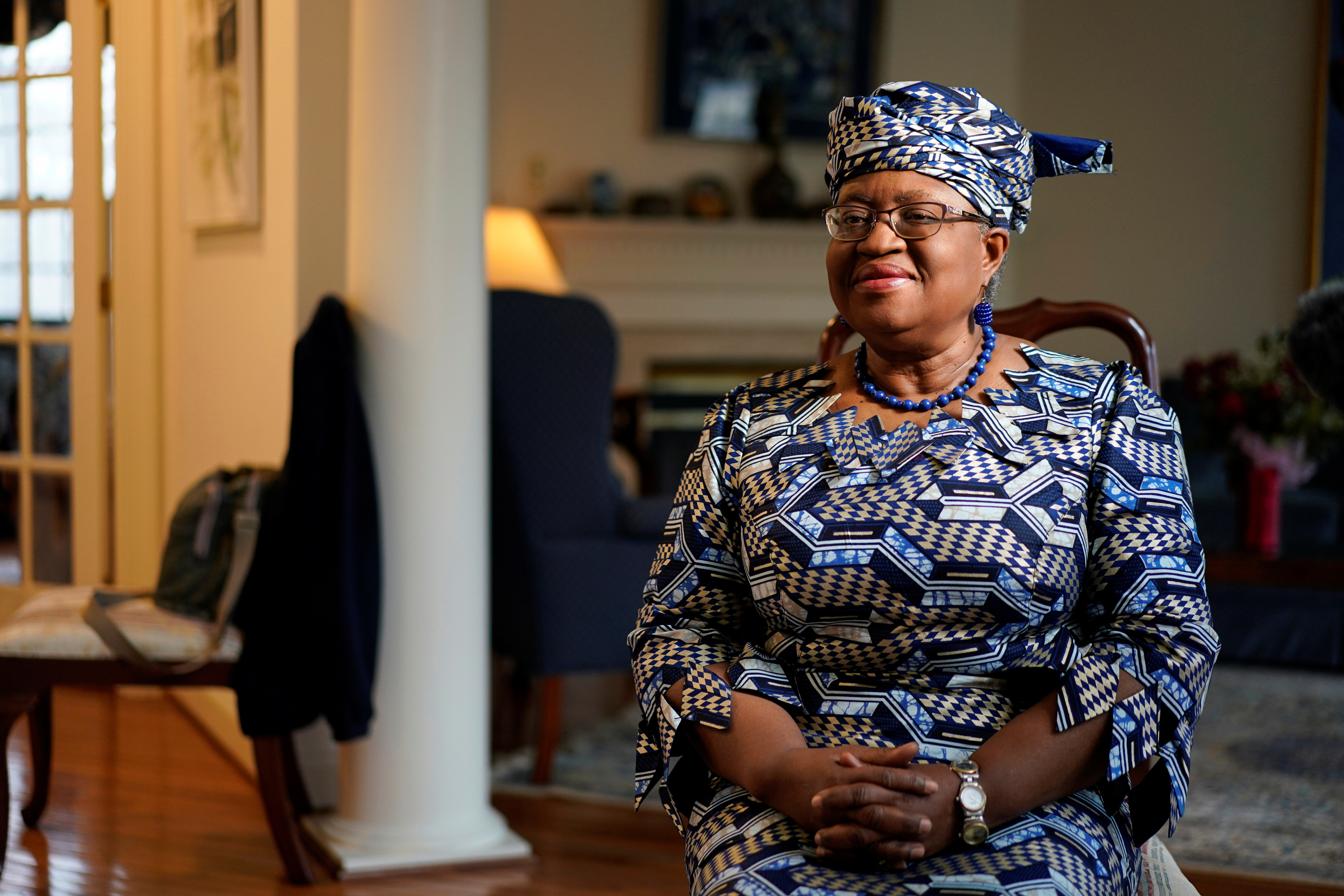 Image of incoming World Trade Organization President Ngozi Okonjo-Iweala during an interview with Reuters in Potomac, Maryland.