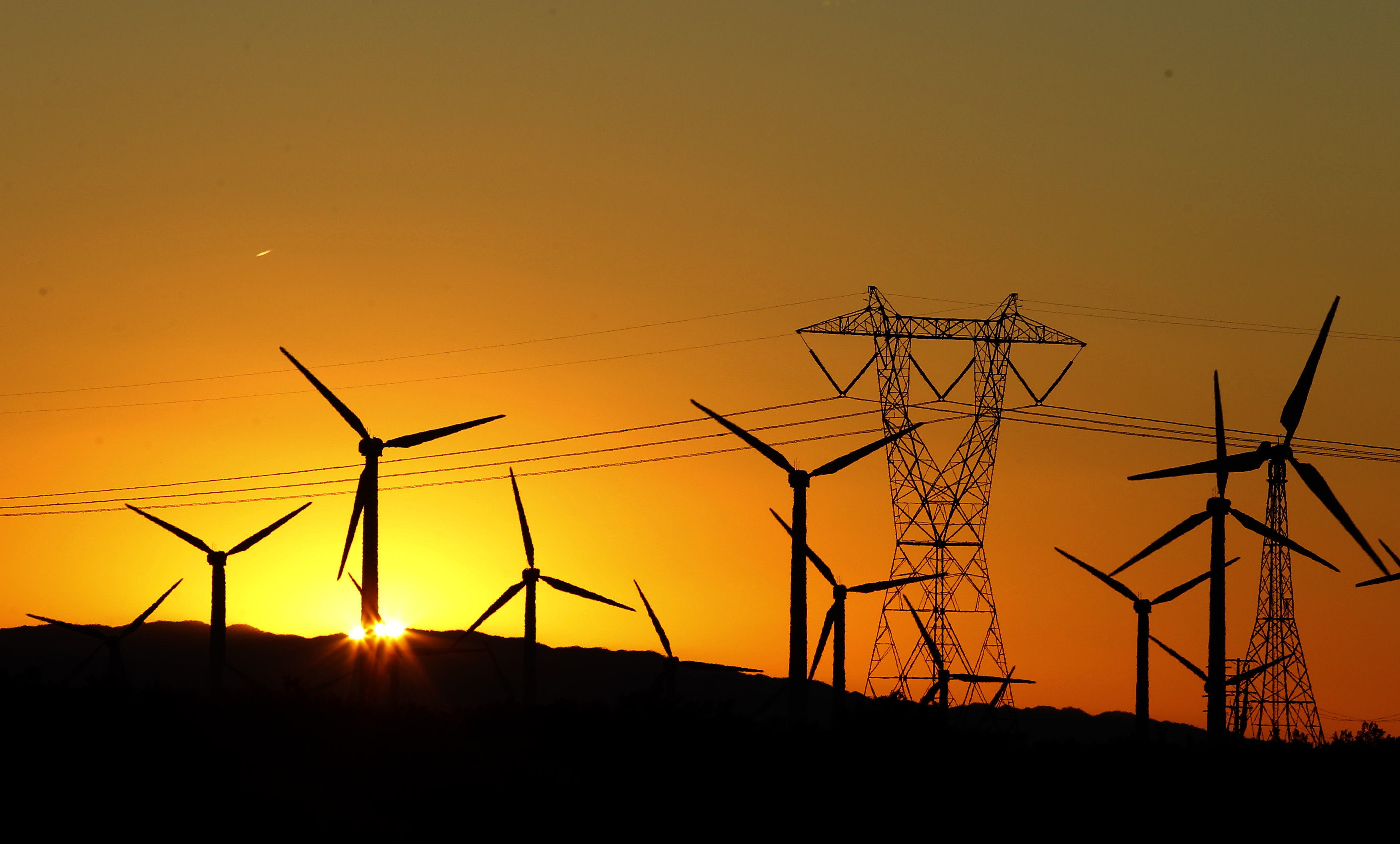 The sun rises behind windmills at a wind farm in Palm Springs, California, February 9, 2011