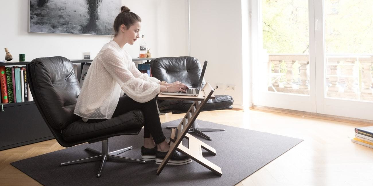 image of a woman working from home