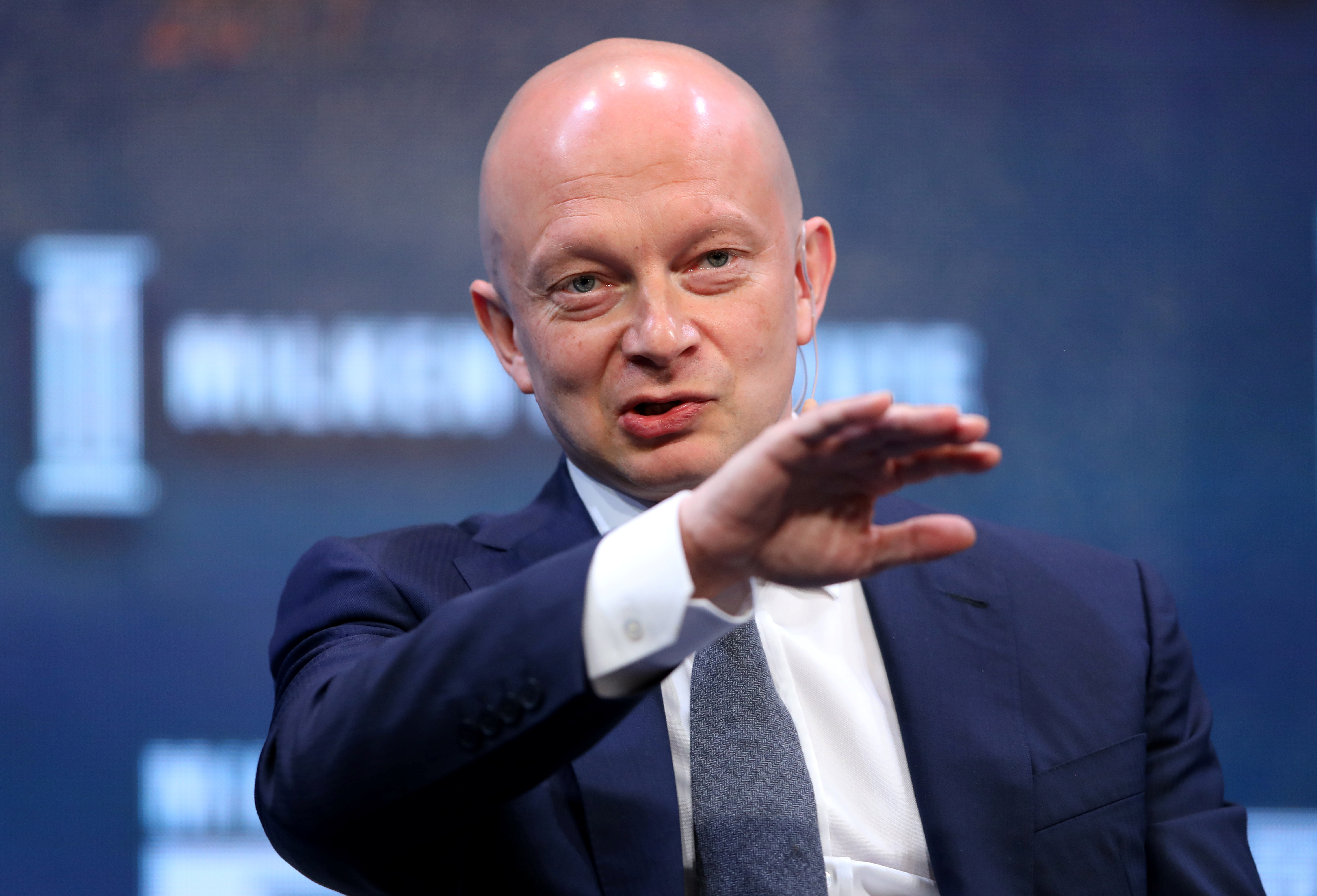 Igor Tulchinsky, founder, chairman and CEO of WorldQuant LLC, speaks during the Milken Institute Global Conference in Beverly Hills, California, U.S., May 1, 2017. REUTERS/Mike Blake - RC12A0281E70
