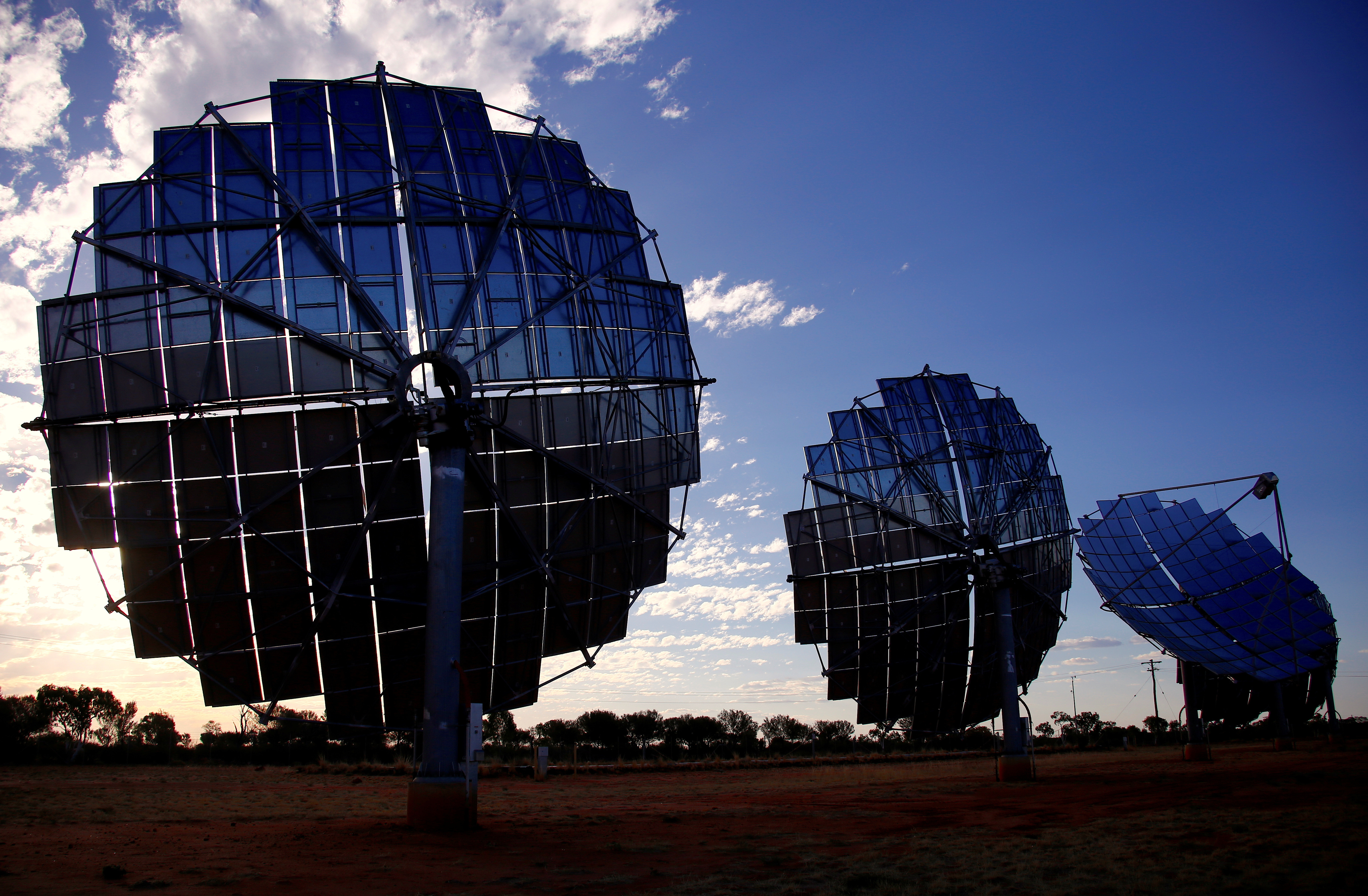 A solar panel array can be seen at the Windorah Solar Farm, which was installed by Ergon Energy