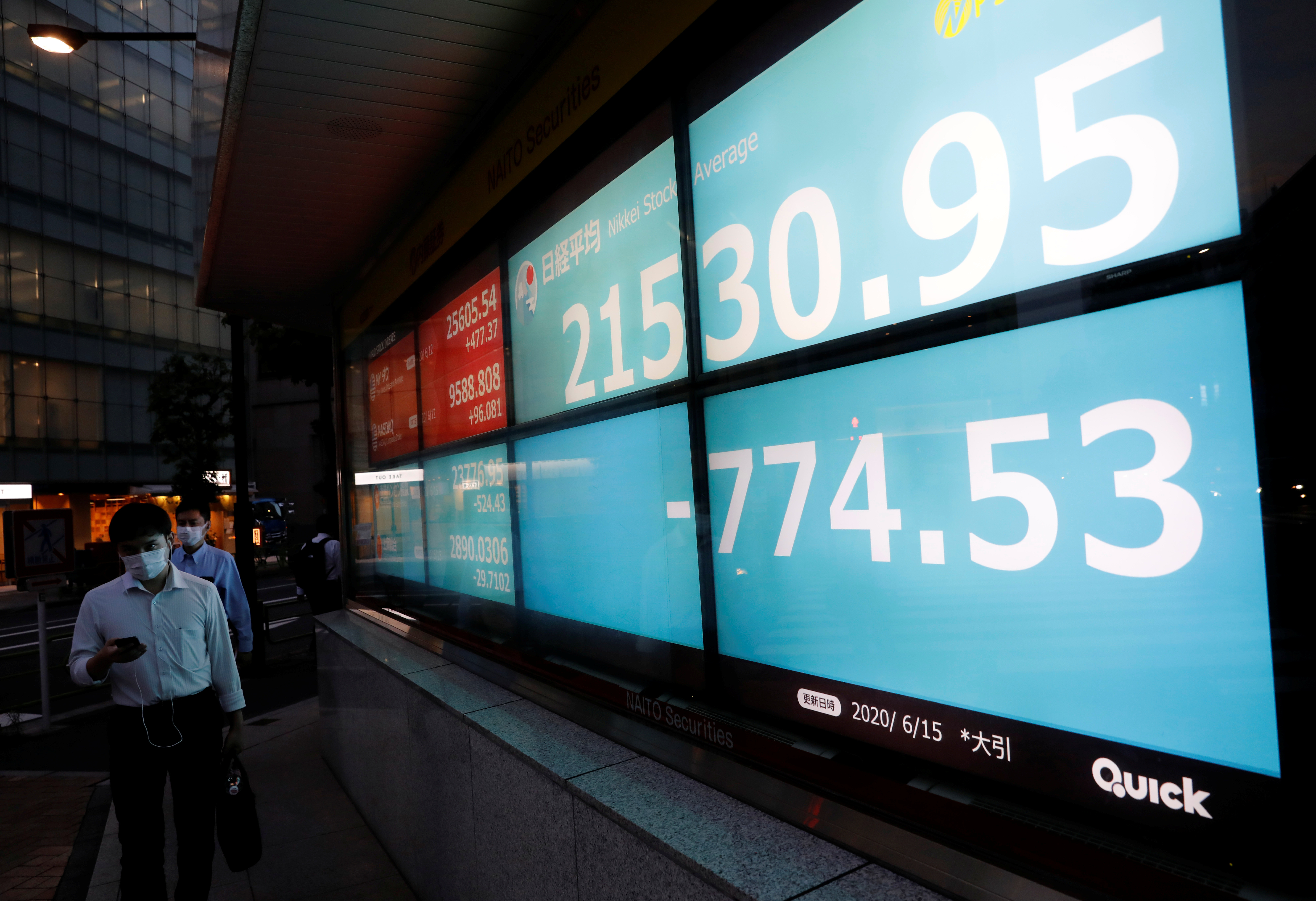 Men wearing protective face masks, following the coronavirus disease (COVID-19) outbreak, walk past a stock quotation board outside a brokerage in Tokyo, Japan, June 15, 2020. REUTERS/Kim Kyung-Hoon - RC2N9H9OF28W