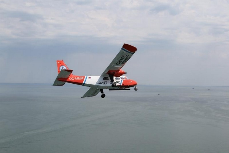 The small plane can detect emissions from vessels below.