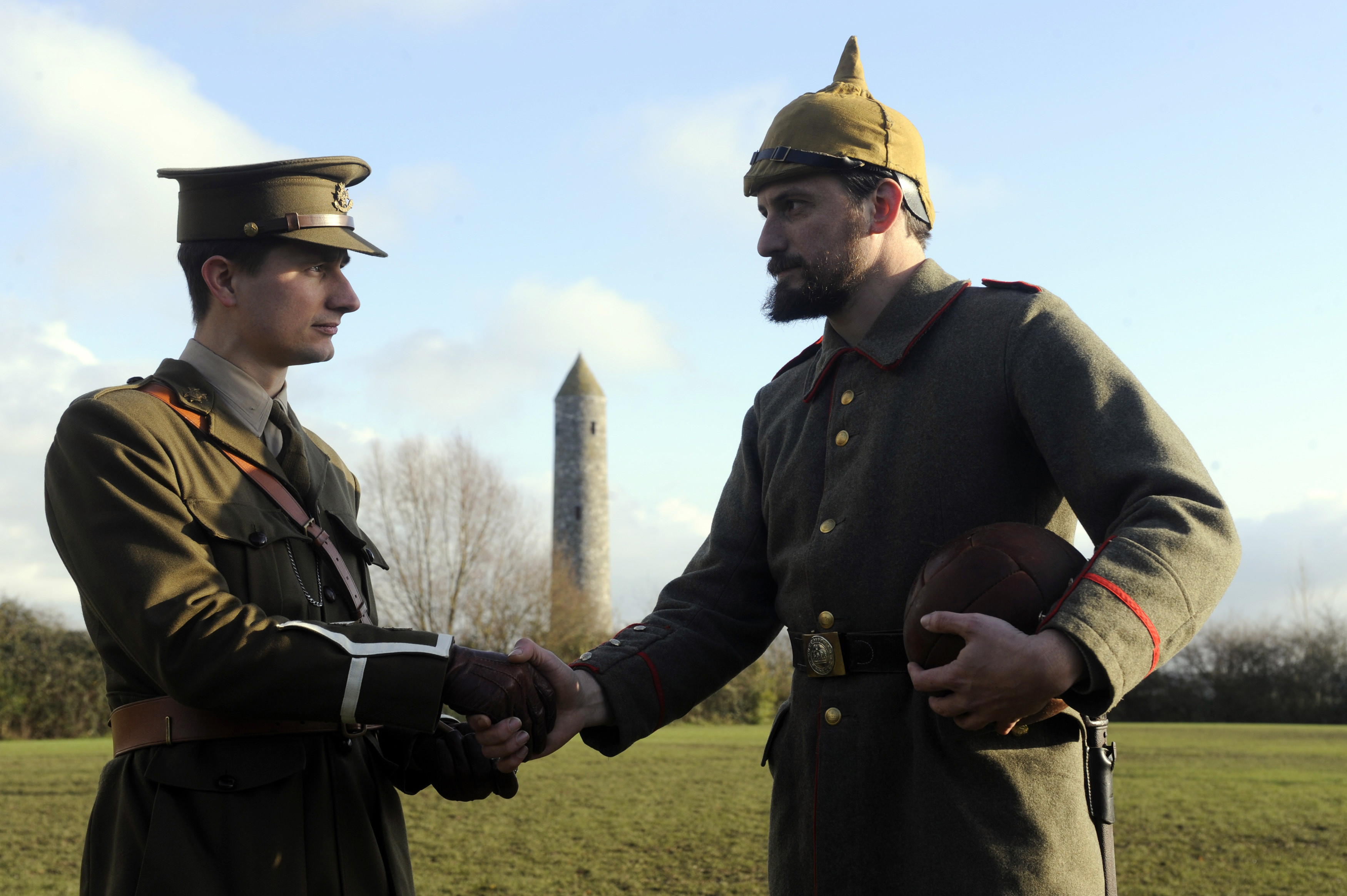 A centenary re-enactment of the football match between the German and Allied troops during the Christmas Truce of 1914.