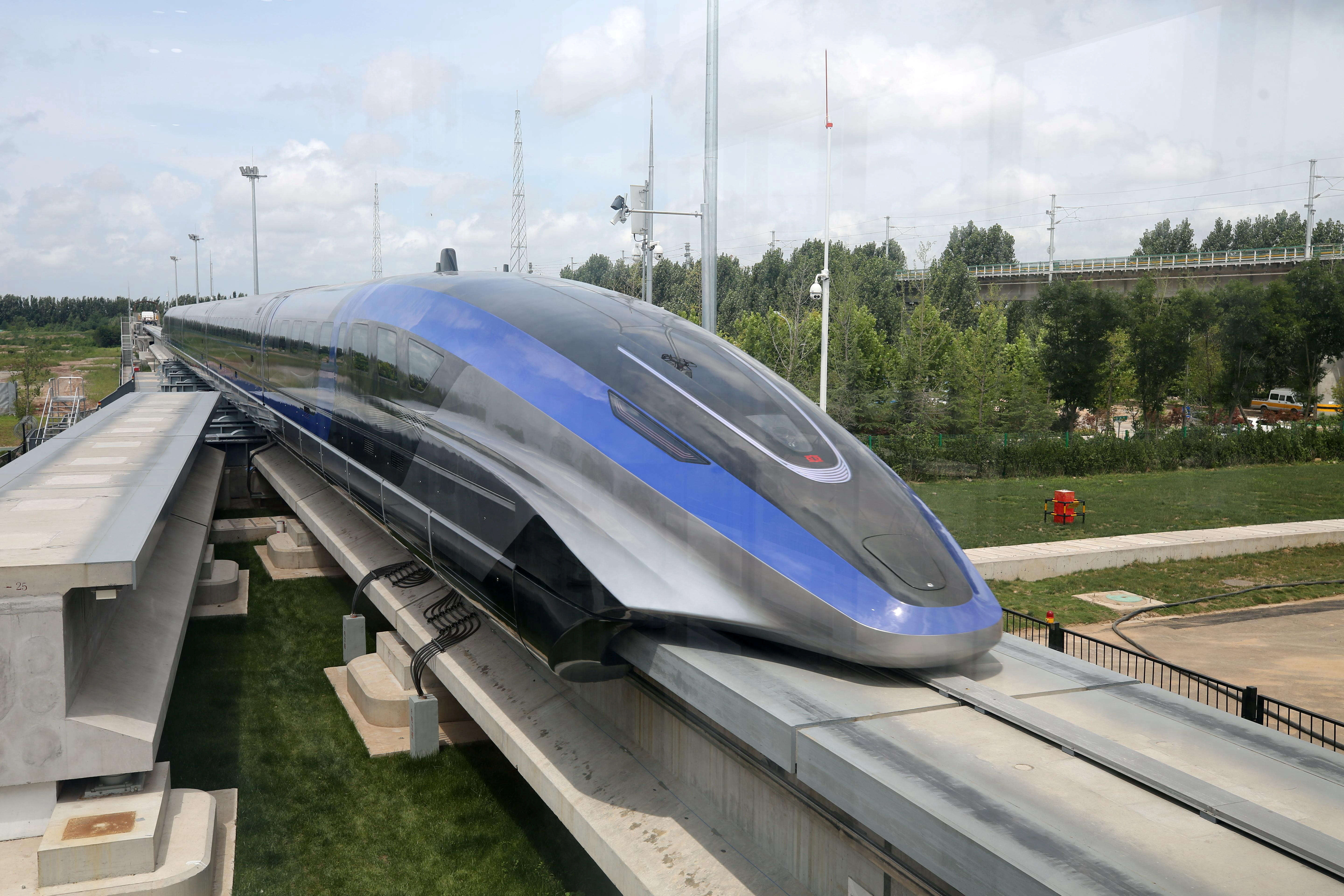 A high-speed maglev train, capable of a top speed of 600 kph, is pictured in Qingdao, Shandong province, China