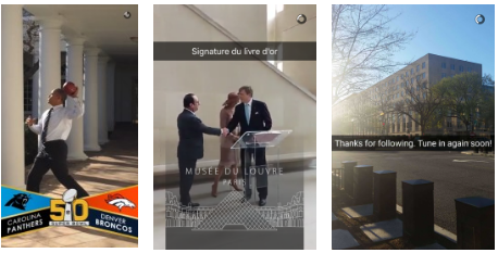 Snapchat of geo-filters for the Lourve and a football game.