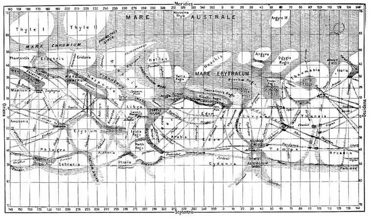 Giovanni Schiaparelli's map of Mars, compiled over the period 1877-1886