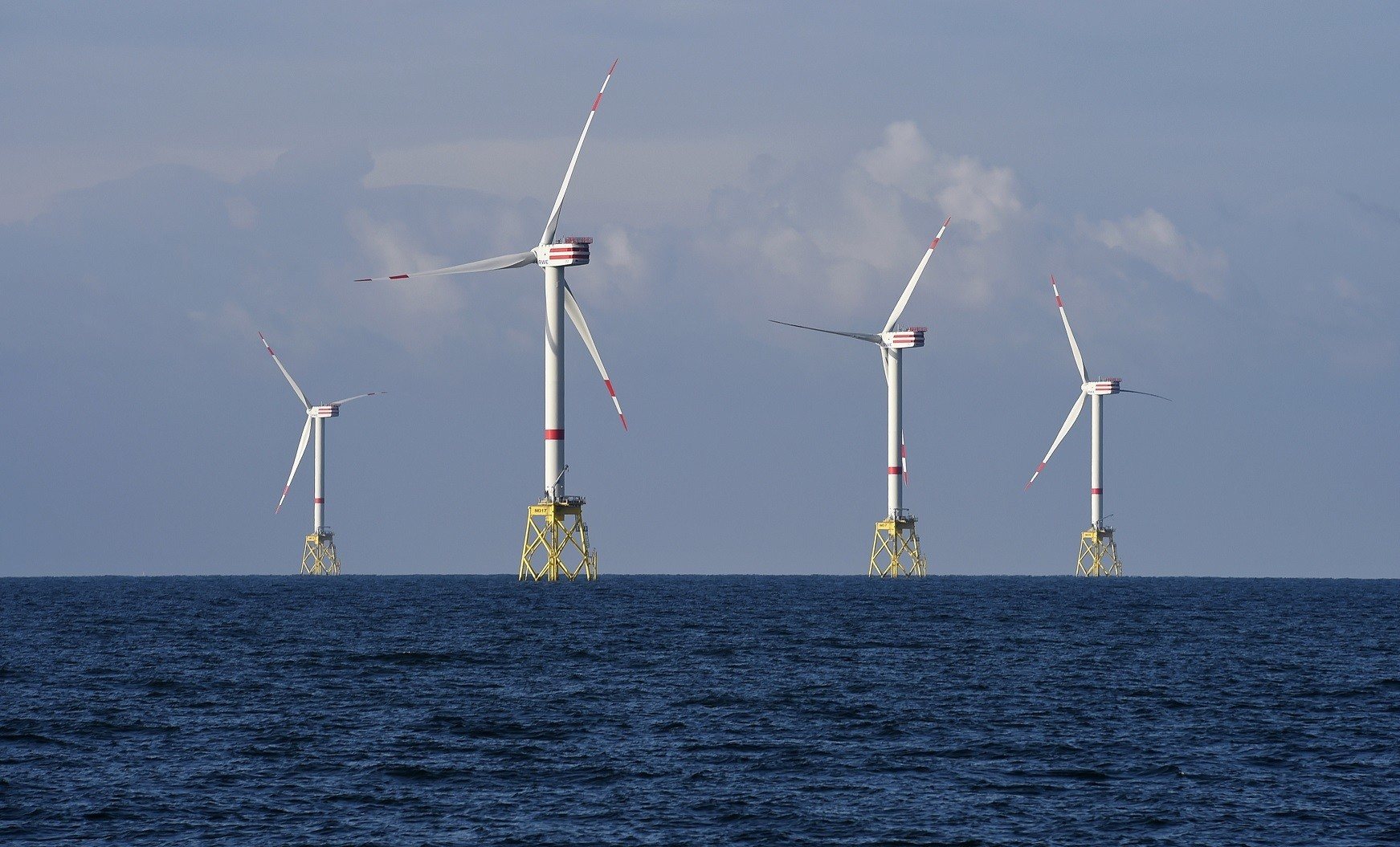 A view shows windmills of several wind farms at the so-called