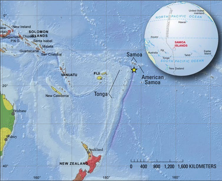 Location of earthquake shown by yellow star in South Pacific south of Samoa