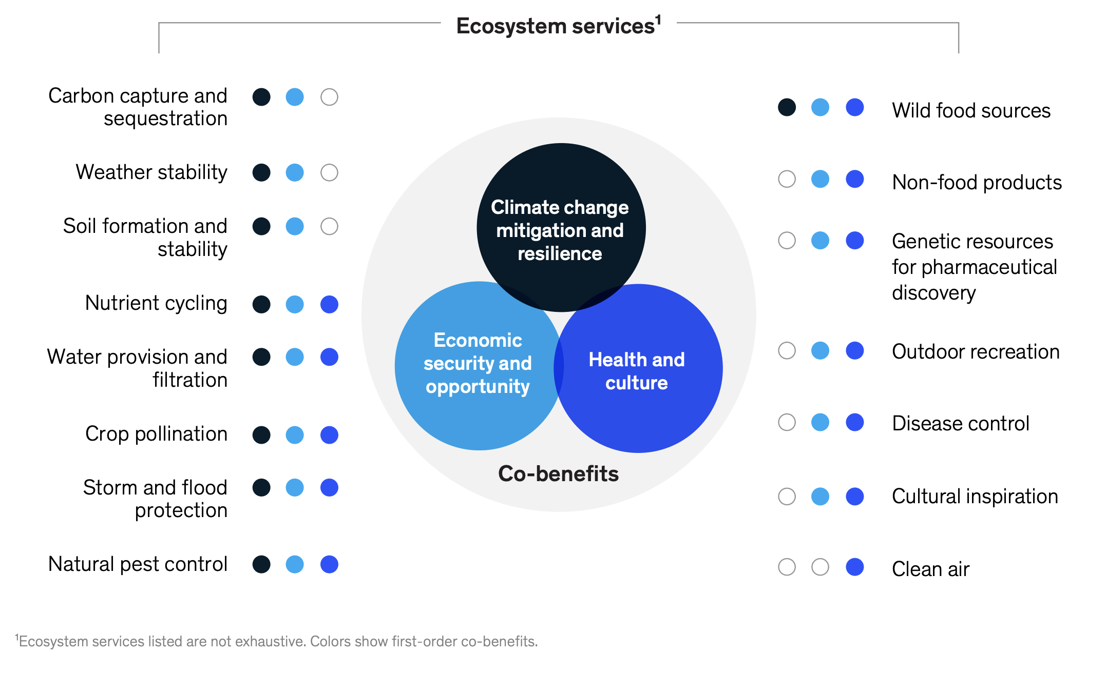 The ecosystem services provided by natural capital benefit us in a host of ways