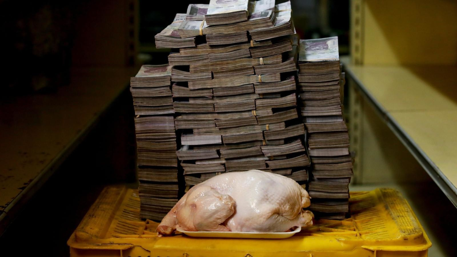 A 2.4 kilogram chicken cost 14,600,000 bolivares ($2.22) before Venezuela slashed five zeros from its currency.