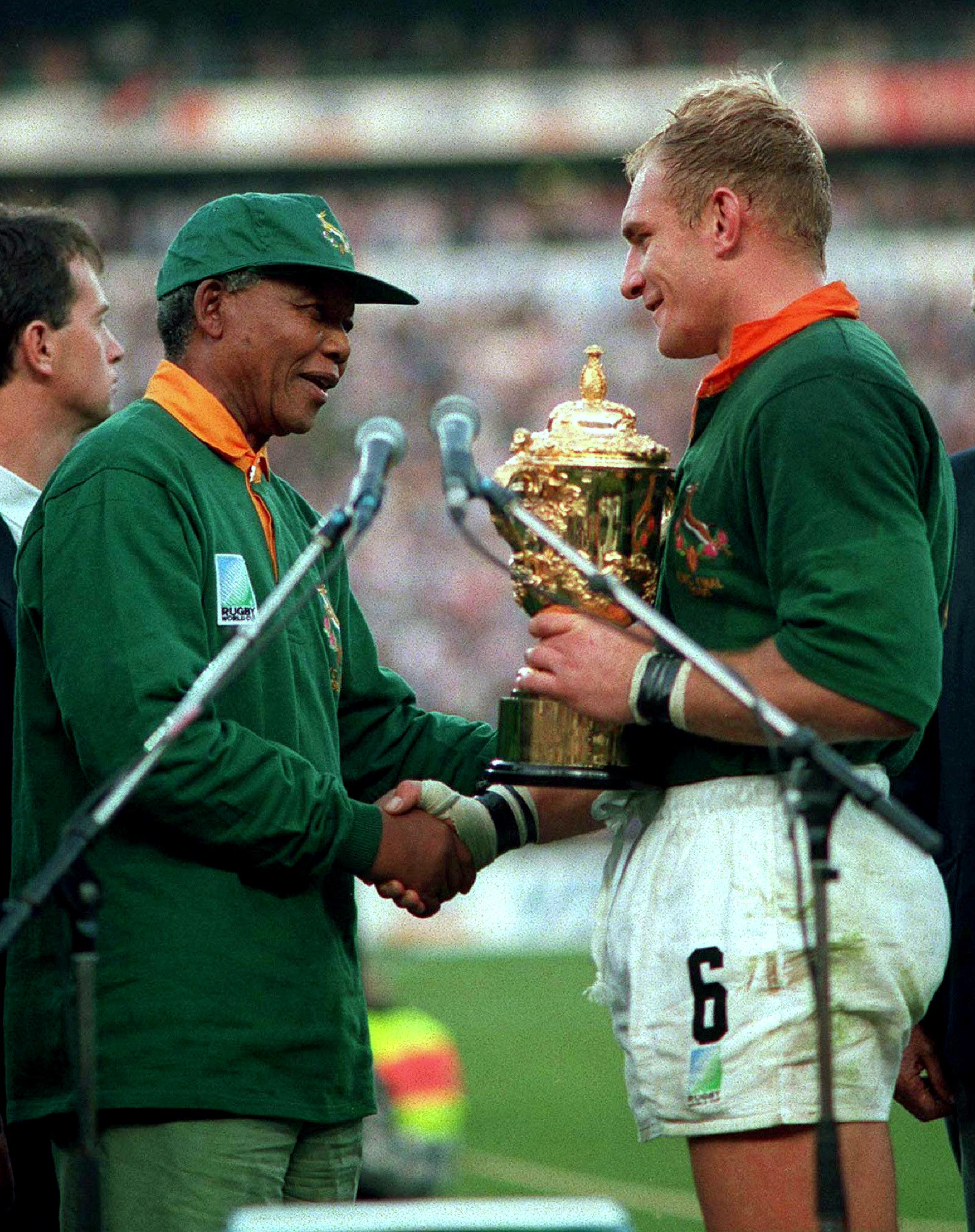 Nelson Mandela congratulates captain Francois Pienaar at the 1995 Rugby World Cup.