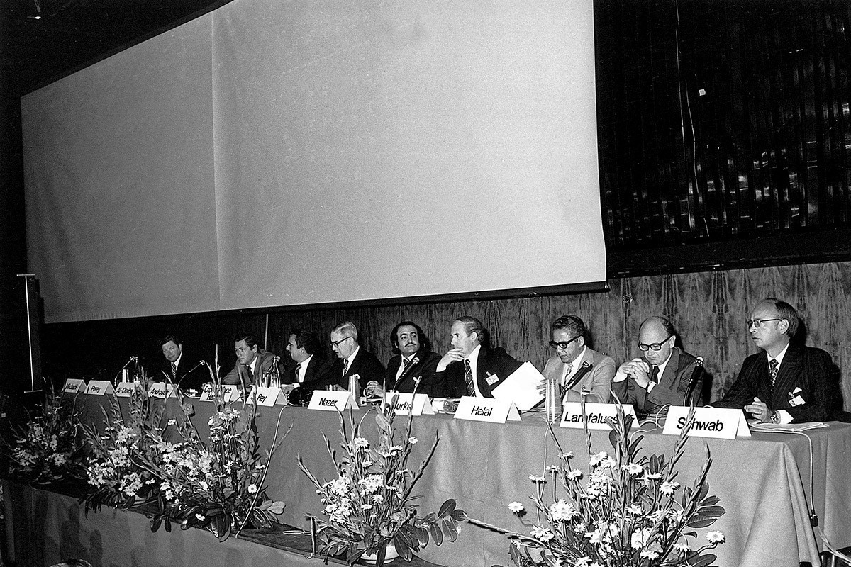 Le premier Colloque sur la coopération commerciale arabo-européenne, tenu à Montreux.