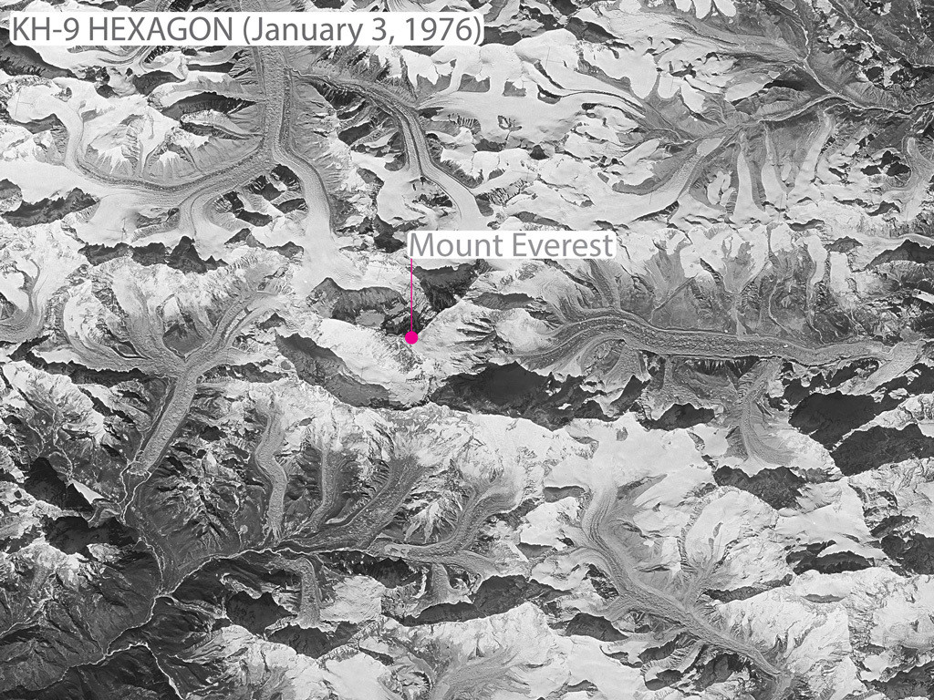Spy satellite image taken over the Khumbu region of the Himalayas on 3 January, 1976 from the declassified KH-9 HEXAGON programme.