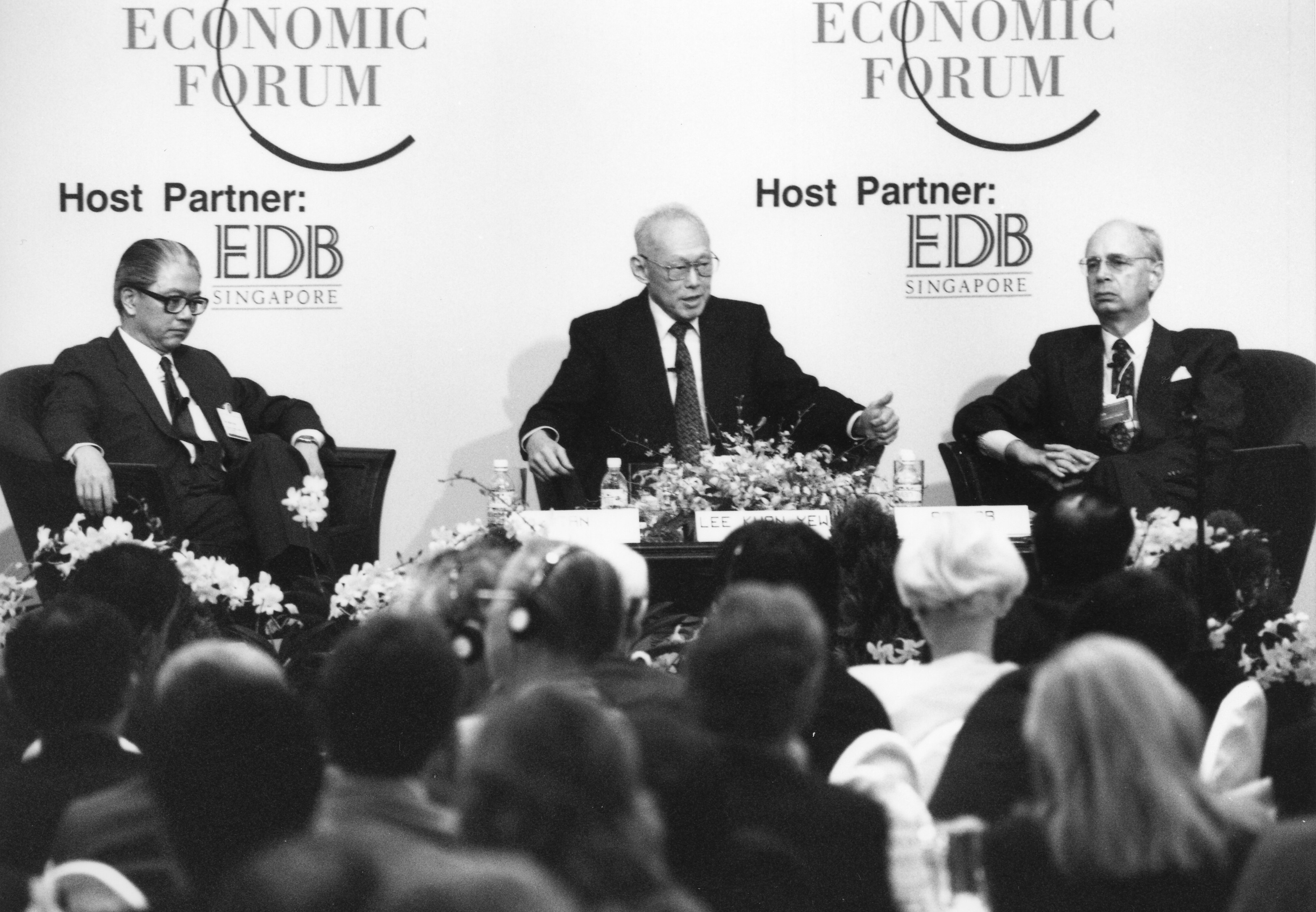 Klaus Schwab, Founder and Executive Chairman of the World Economic Forum, speaking together with Lee Kuan Yew, Prime Minister and Tony Tan Keng-Yam, Deputy Prime Minister of Singapore at the East Asia Economic Forum in Singapore, 1994.