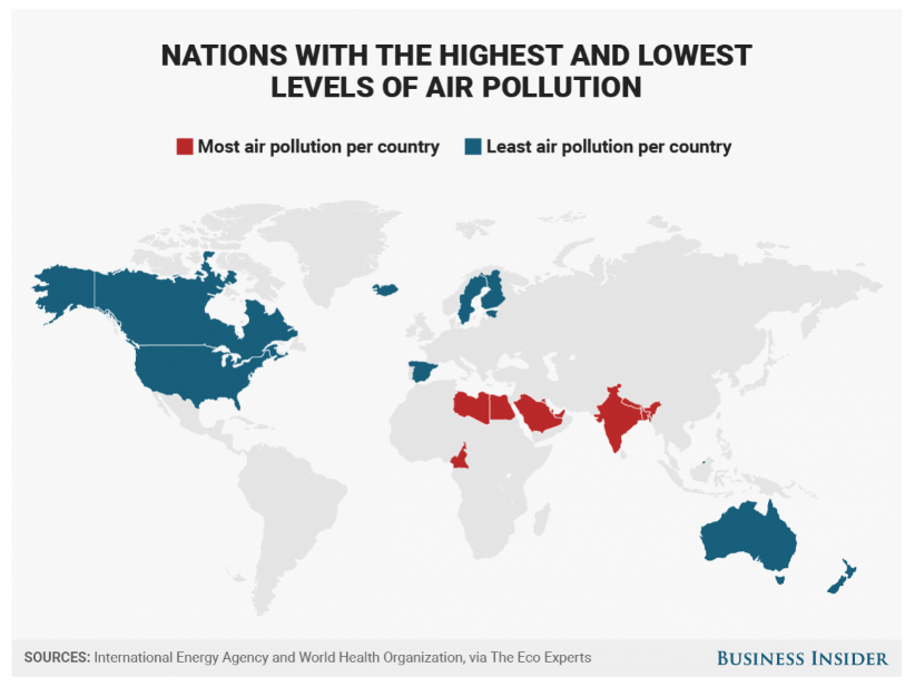 The best - and worst - countries for air pollution and electricity ...