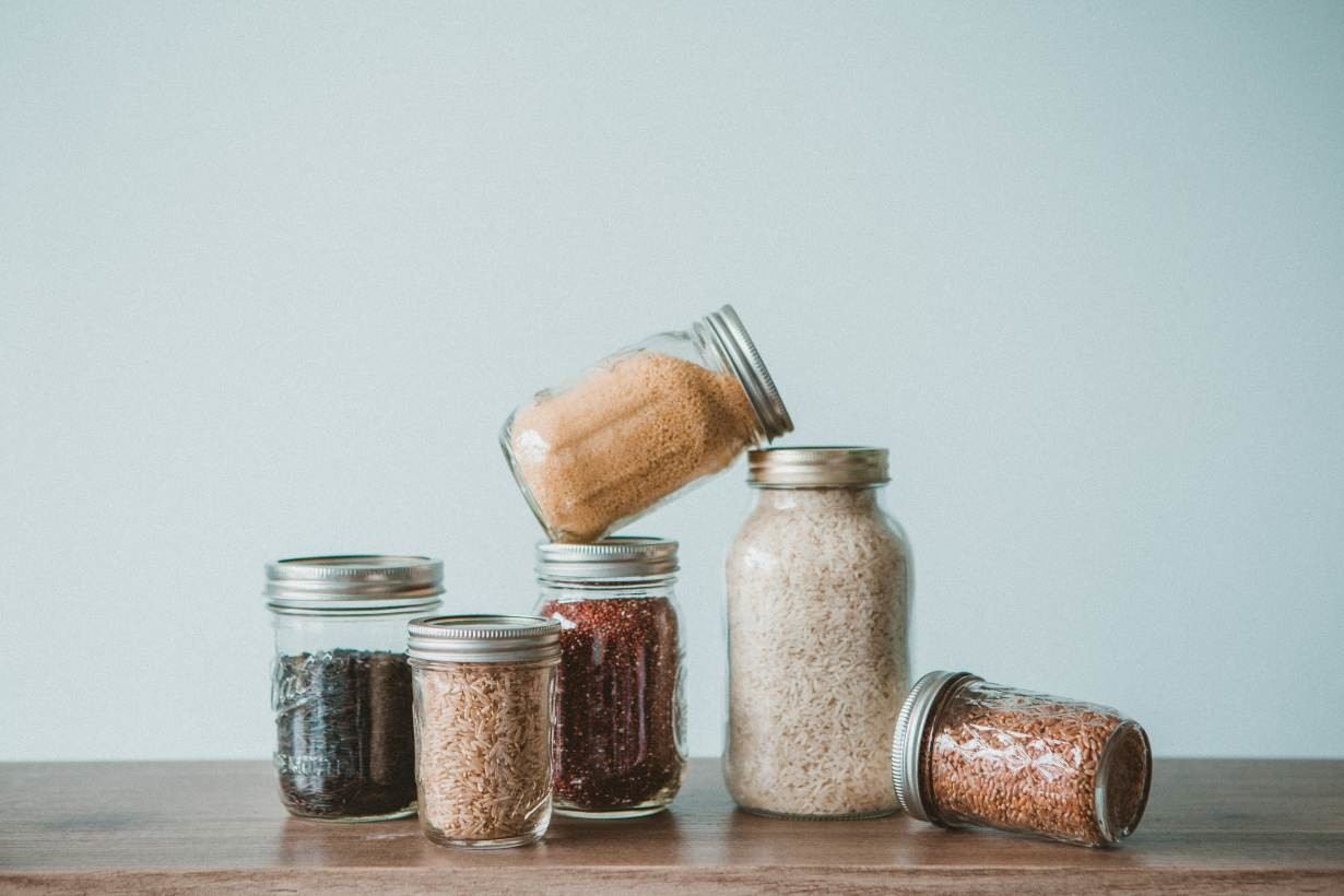 Bulk items, such as grains, in mason jars.