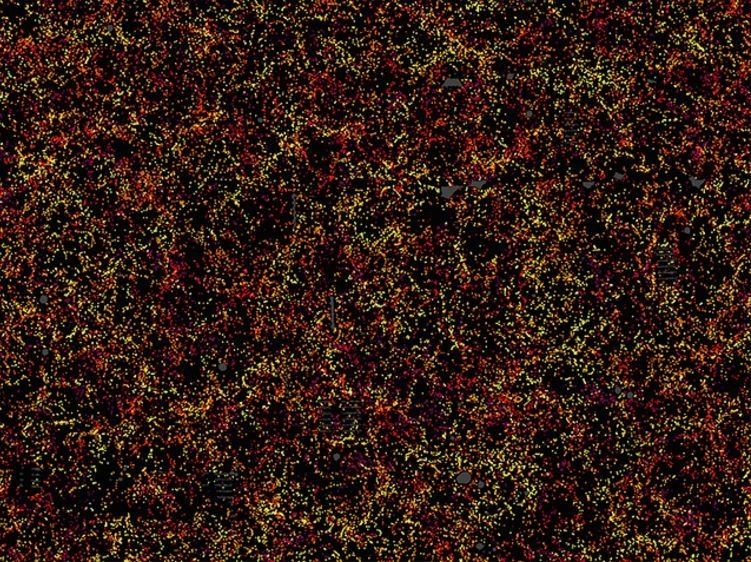 Distribution of galaxies where each point is an individual galaxy, colours represent their distance from Earth