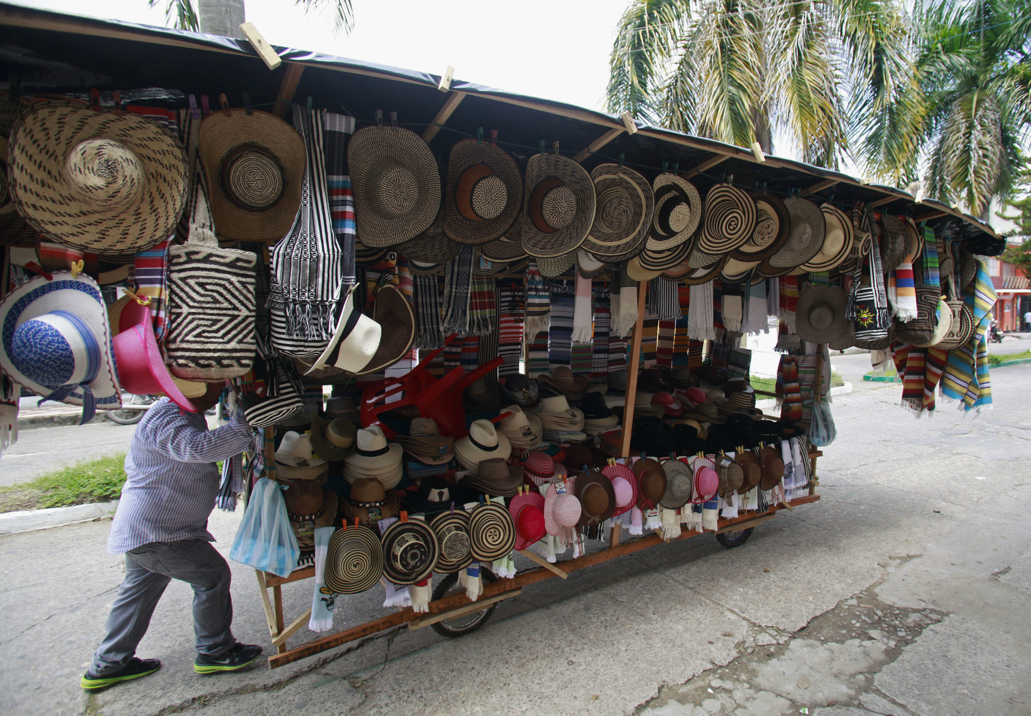 A seller pushes his home made cart with traditional hats during the 12th La Joropera festival in Acacias near Villavicencio October 14, 2012.