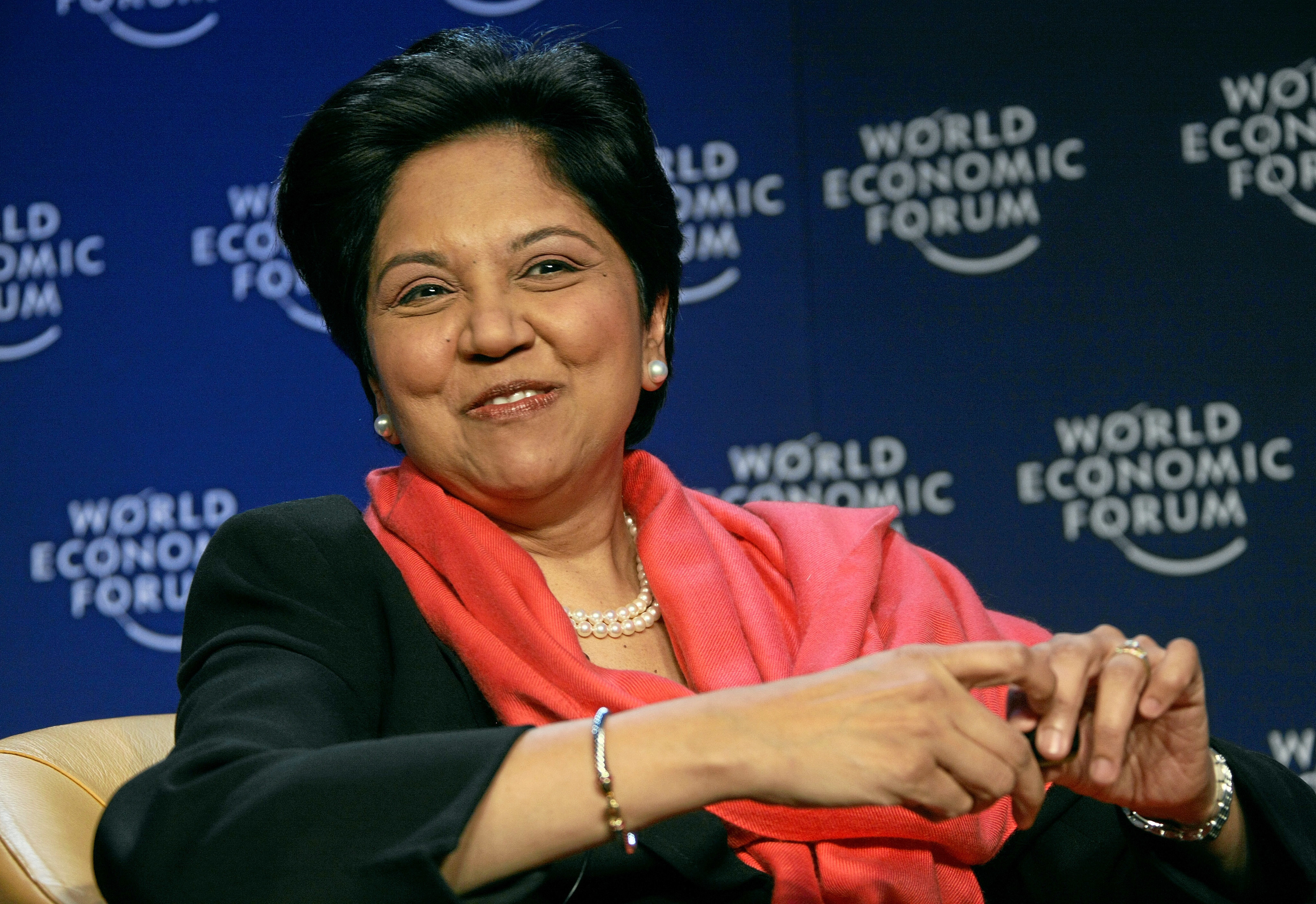 DAVOS/SWITZERLAND, 27JAN08 - Indra K. Nooyi, Chairman and Chief Executive Officer, PepsiCo, USA; Co-Chair of the World Economic Forum Annual Meeting 2008, captured during the session 'Message from Davos: Believing in the Future' at the Annual Meeting 2008 of the World Economic Forum in Davos, Switzerland, January 27, 2008. Copyright by World Economic Forum    swiss-image.ch/Photo by Remy Steinegger+++No resale, no archive+++