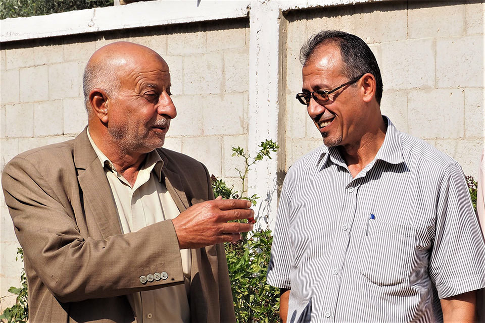 """Abdel Naser Abu Te'ema, the """"Muktar"""" and Wael Abu Ismael talking about the Muktar's decision to not approve marriage under 18 for both boys and girls."""