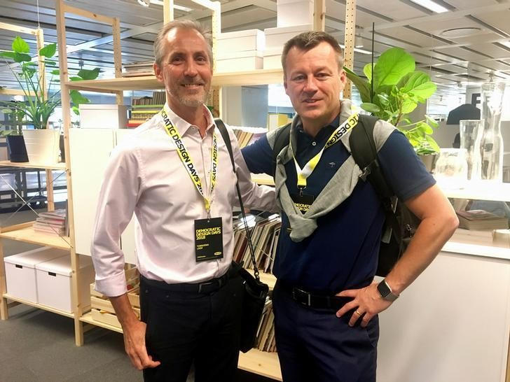 Inter IKEA CEO Torbjorn Loof (L) and IKEA Group CEO Jesper Brodin pose for a picture at an IKEA office in Almhult, Sweden June 7, 2018. REUTERS/Anna Ringstrom