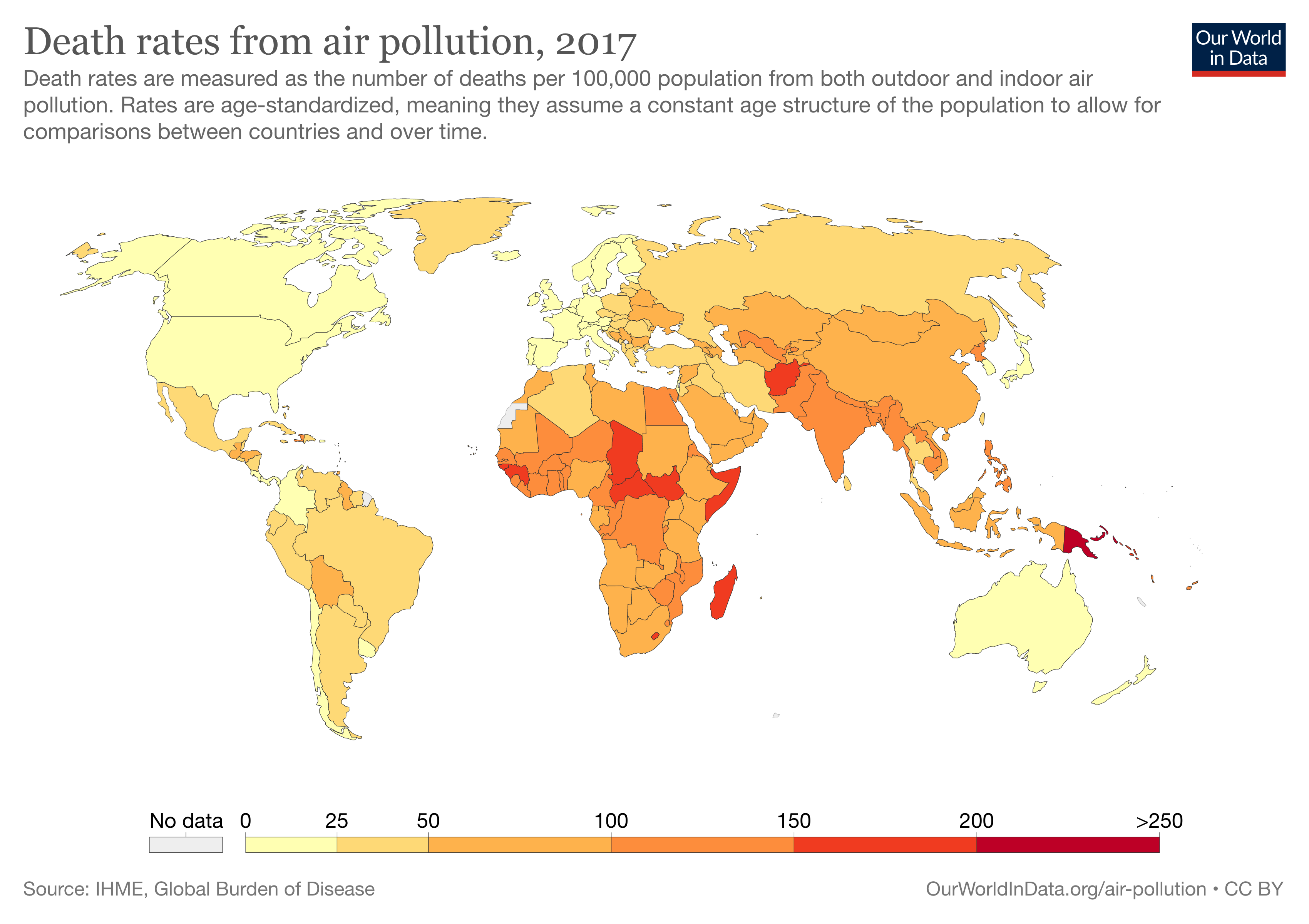 Mortality rates from air pollution around the world